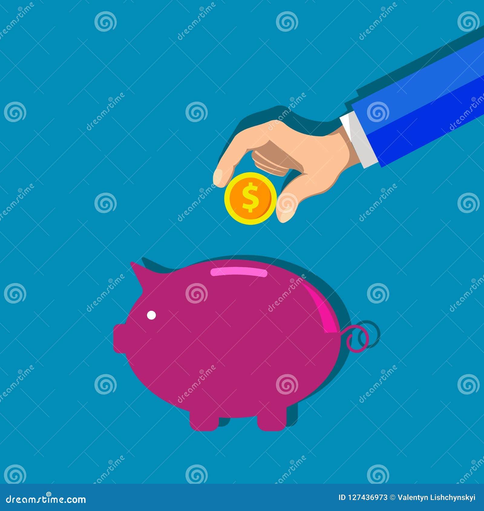 Hucha y mano con el ejemplo de la moneda del dólar Concepto de acumulación