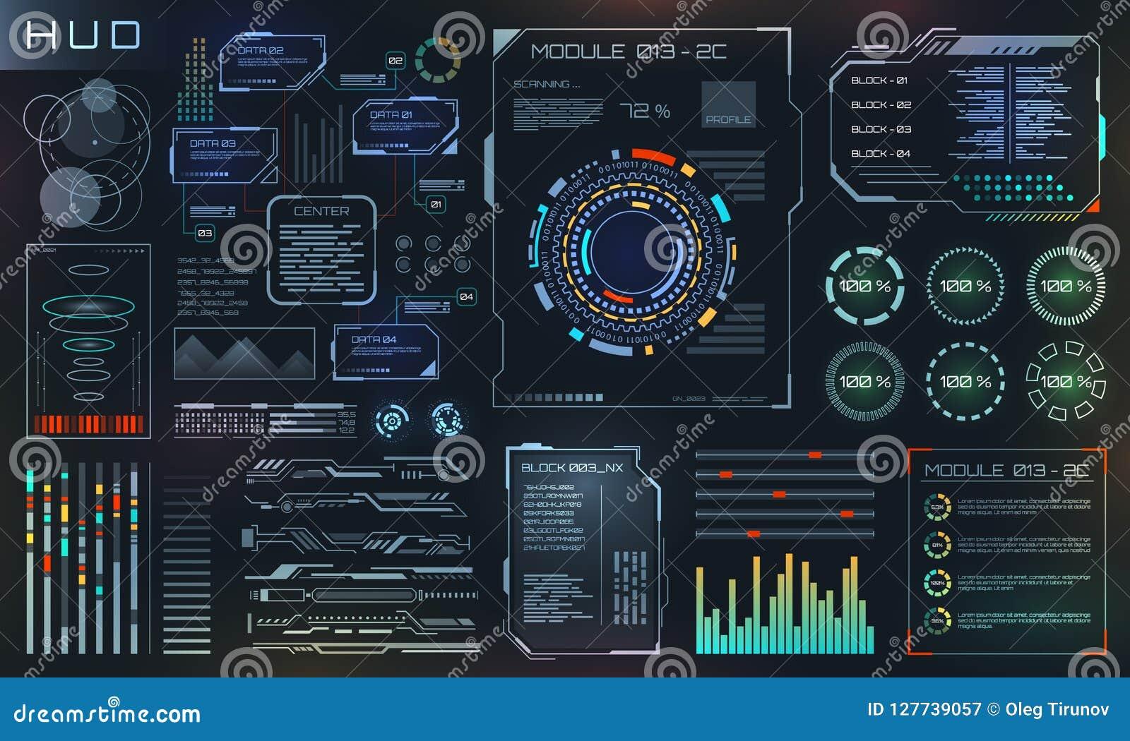 HUD和UI集合元素、科学幻想小说未来派用户界面、技术和科学设计