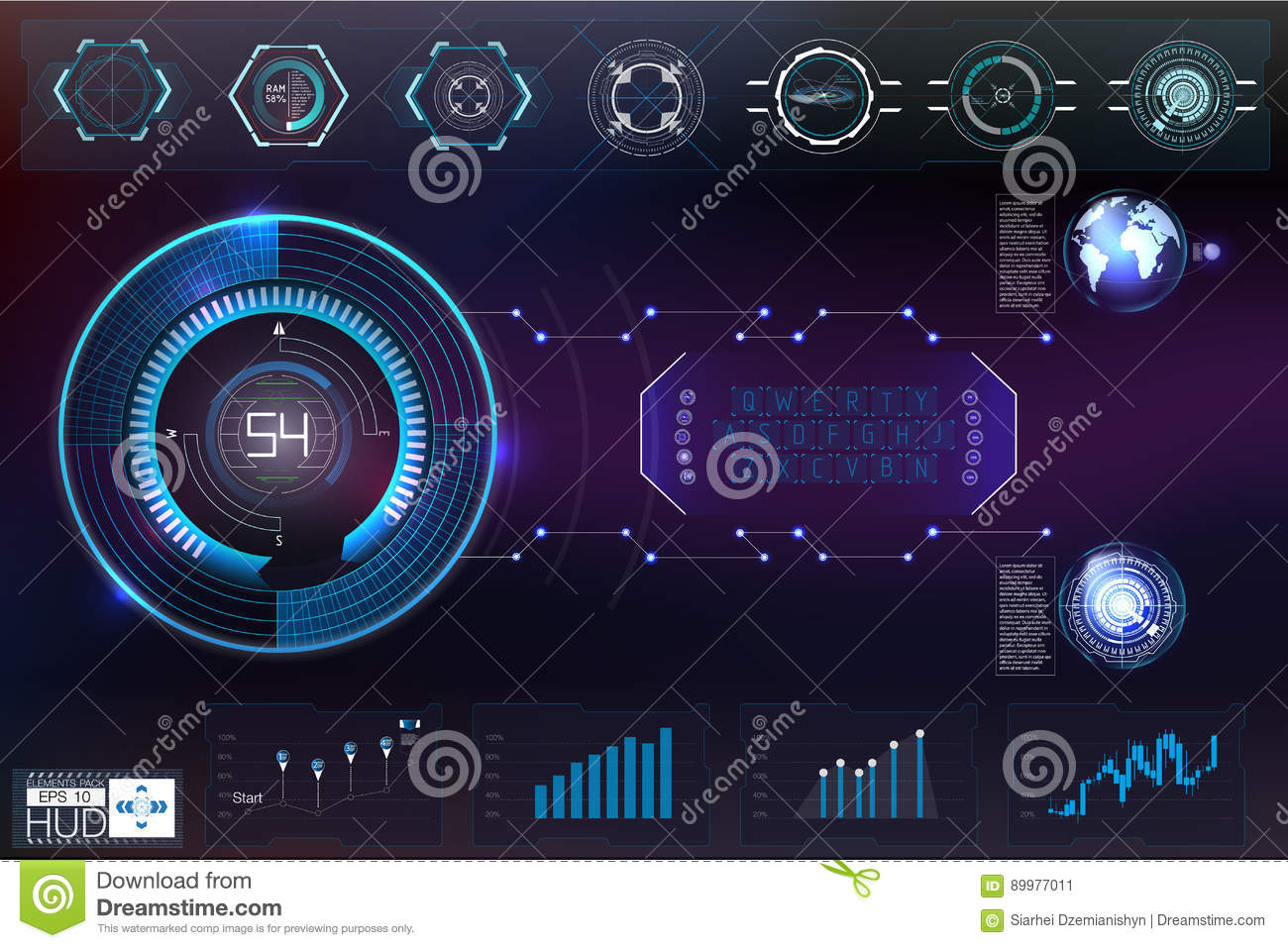 Hud background outer space infographic elements digital for Outer space elements
