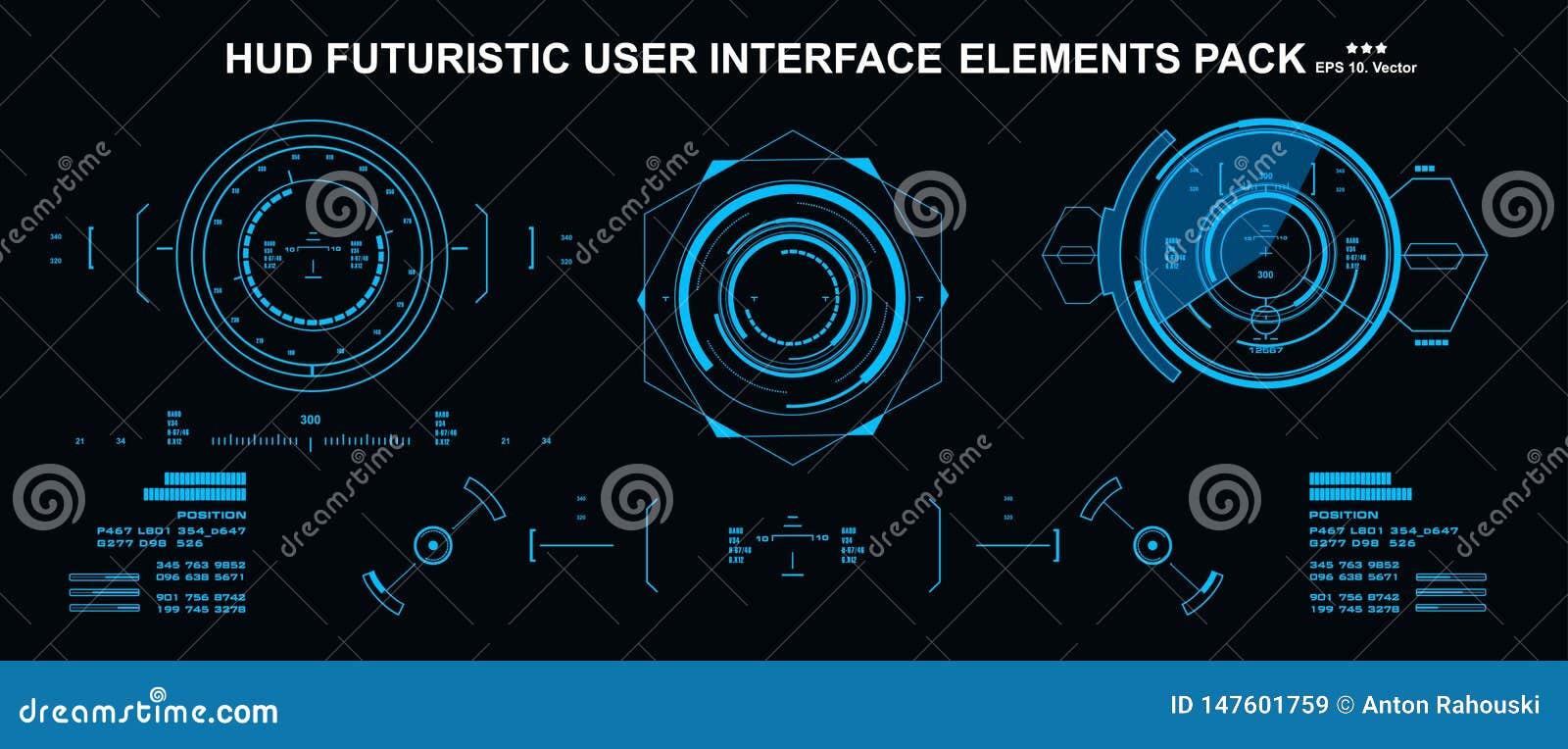 HUD element?w setu mega paczka Deska rozdzielcza pokazu rzeczywisto?ci wirtualnej technologii ekran Futurystyczny interfejs u?ytk