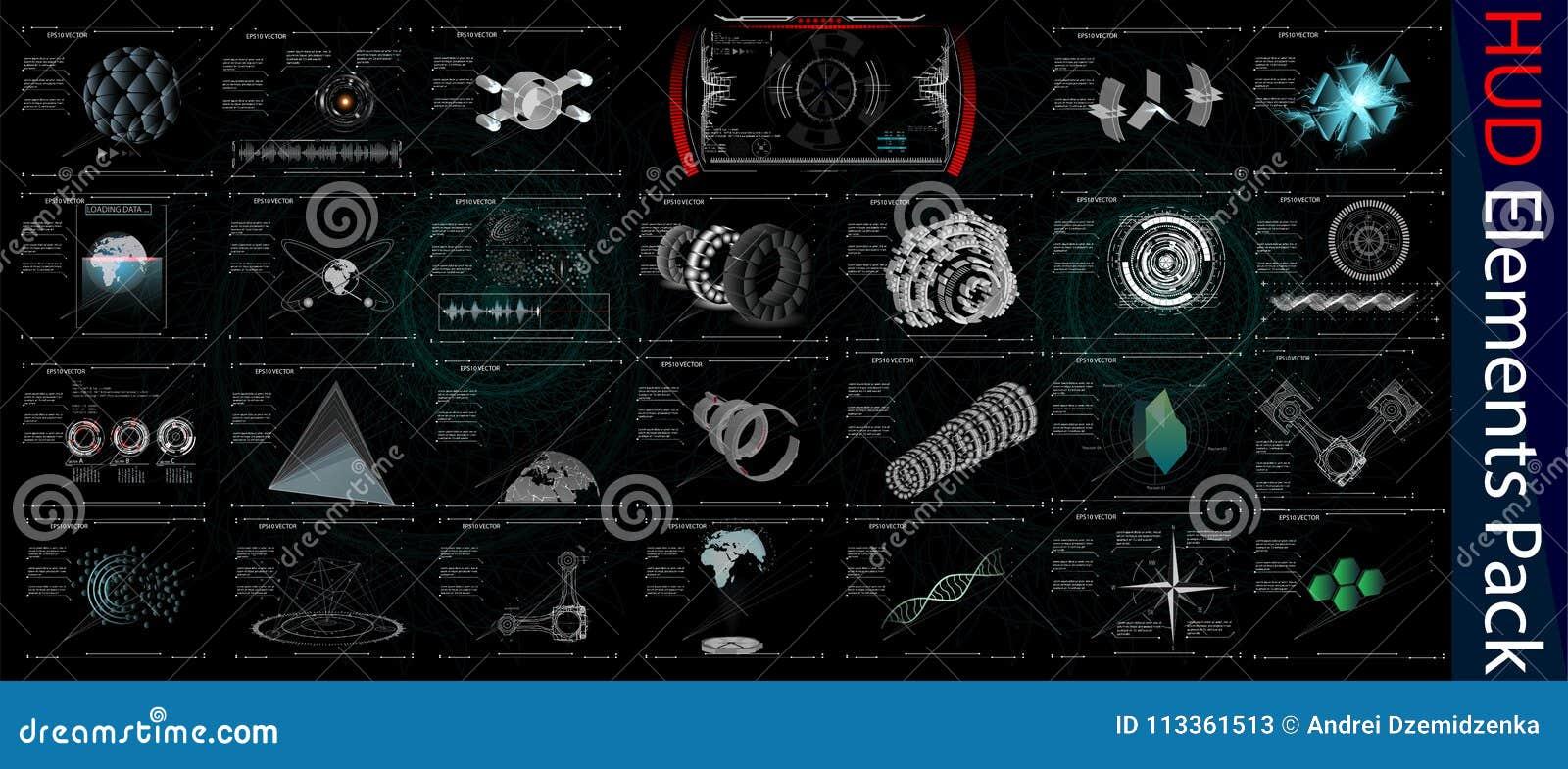 HUD Elements Mega Pack. Elements. Sci Fi Futuristic User Interface. Menu Button. Vector Illustration.