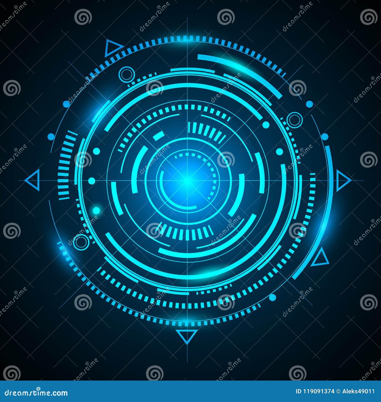 hud futuristic fantastic circle background of the future stock