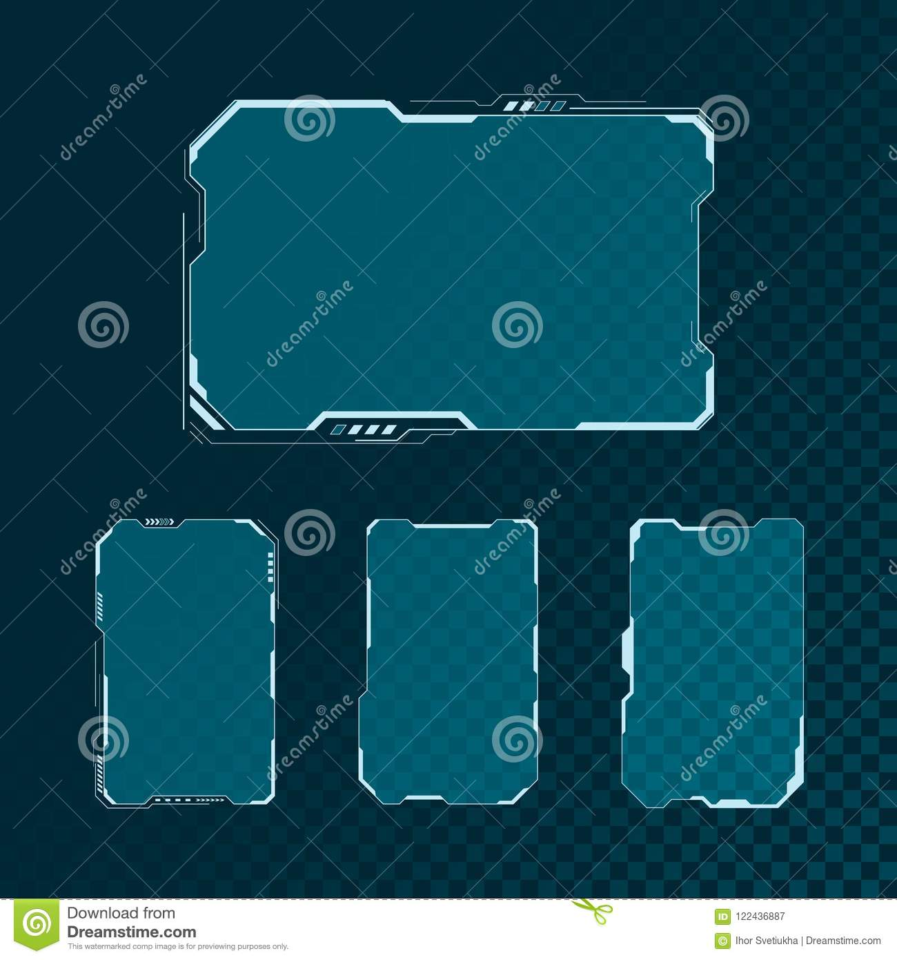 HUD futuristic user interface screen elements set. Abstract control panel layout design. Sci fi virtual tech display. Vector
