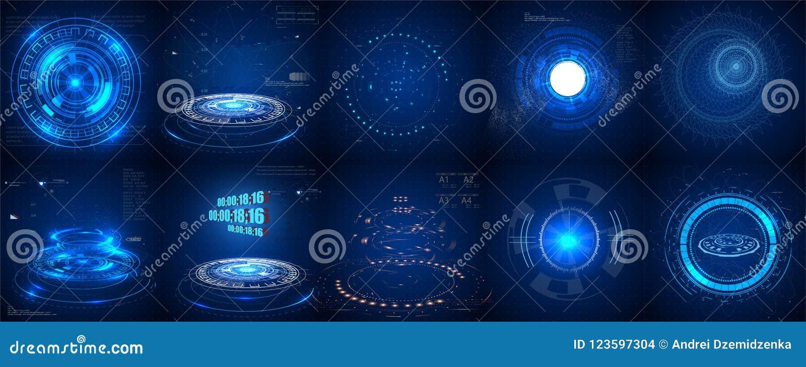 Hud futurystyczny element Set okrąg Abstrakcjonistyczna technologia cyfrowa UI Futurystyczny HUD