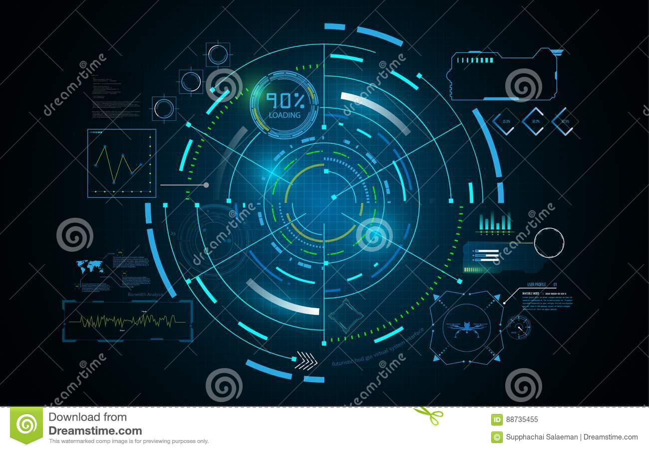 Hud interface GUI futuristic technology networking concept template