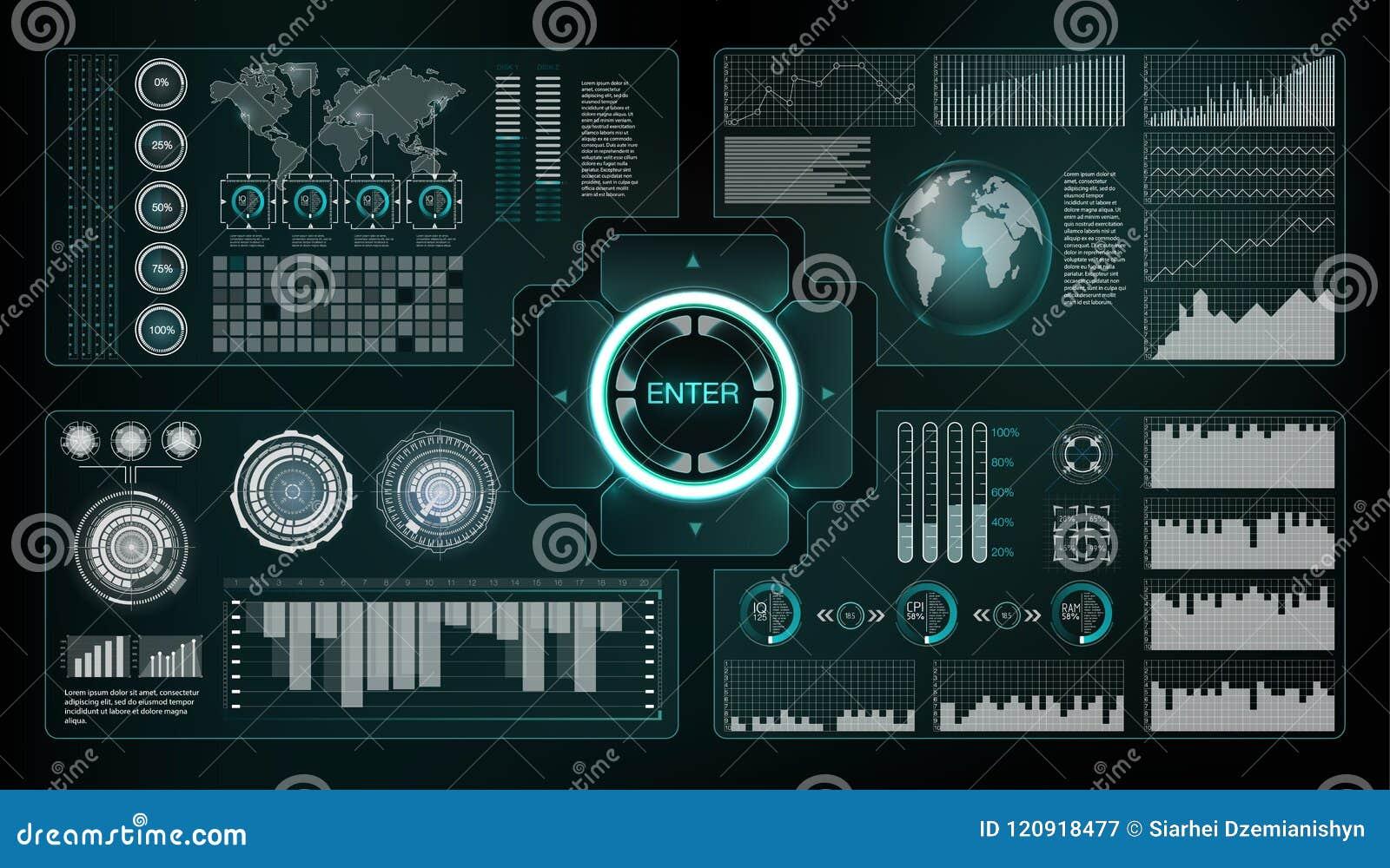 HUD style. Big hud sets. Vector science abstract. Vector illustration. Futuristic user interface. Sky-fi HUD. Set abstract HUD el
