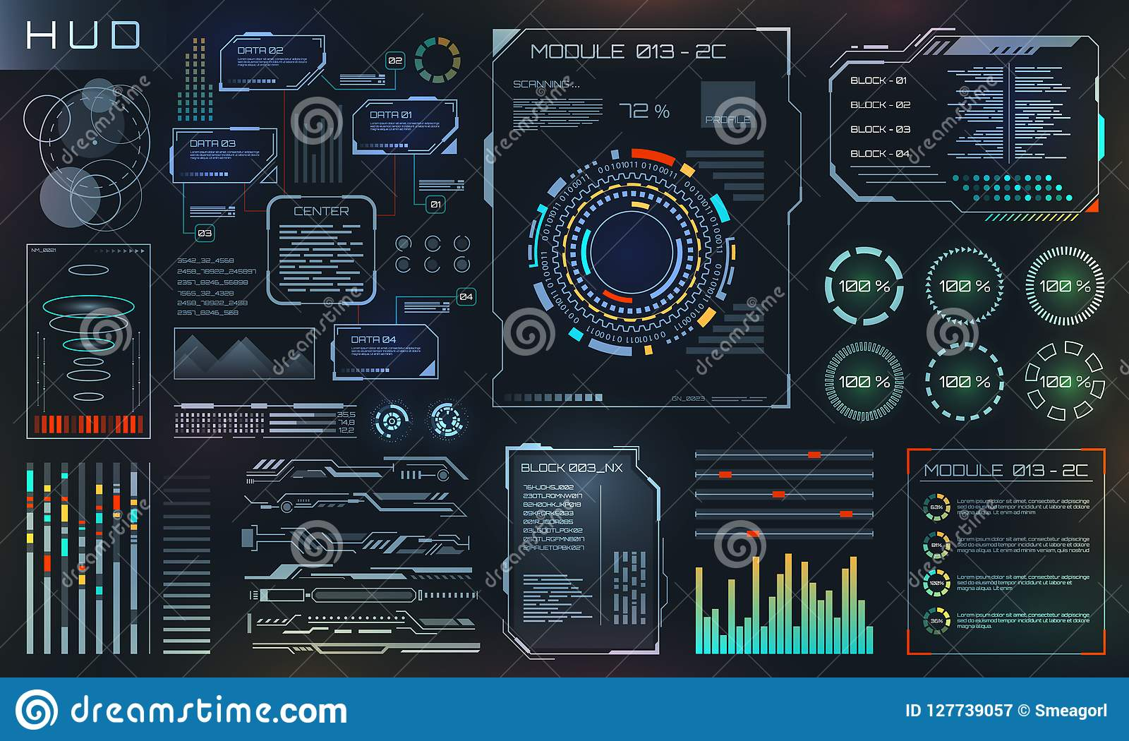 HUD and UI Set Elements, Sci Fi Futuristic User Interface, Tech and Science Design