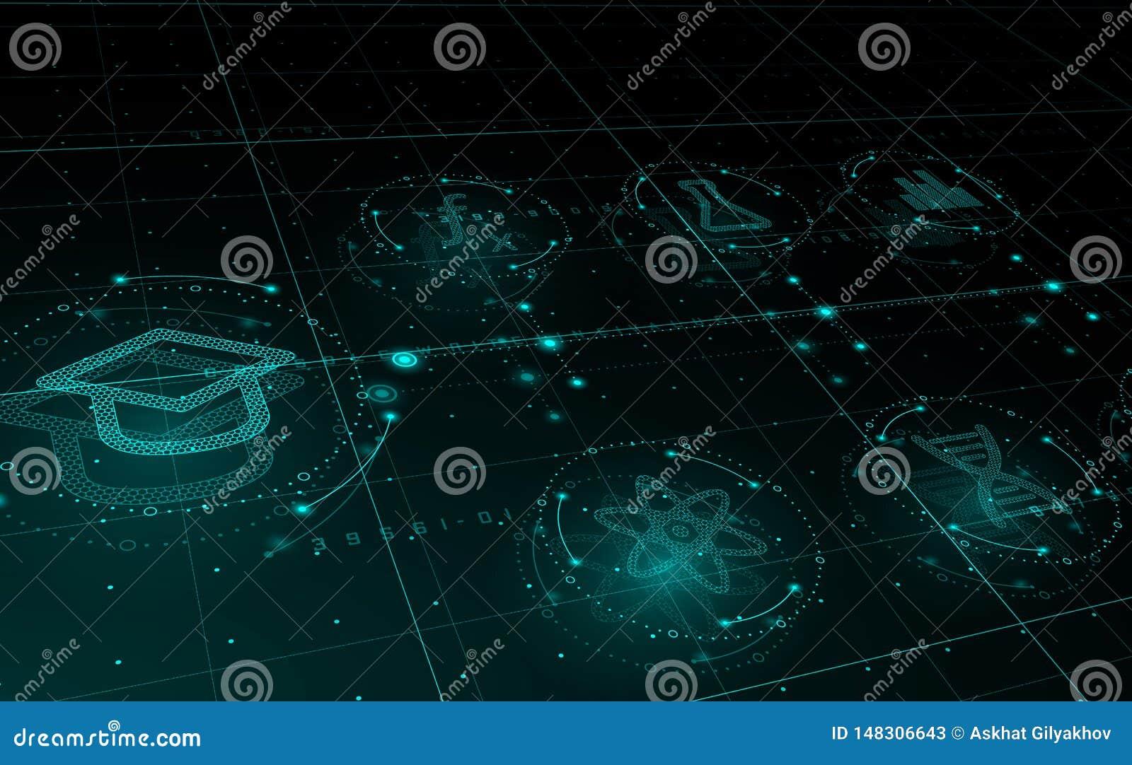 HUD-wetenschapspictogrammen in cirkels, e-lerend concept Onderwijs