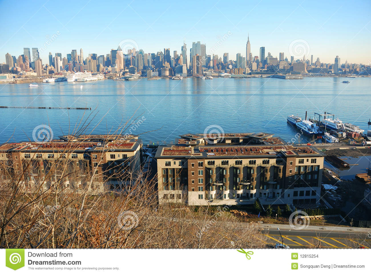 hudson river with new york city skyline stock photo image 12815254. Black Bedroom Furniture Sets. Home Design Ideas