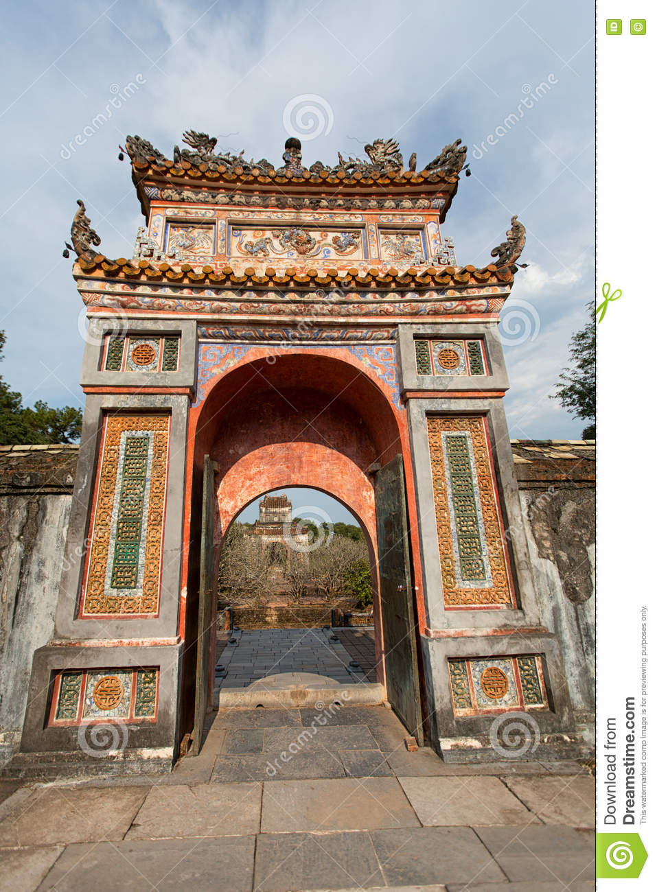 HUE, VIETNAM - MARCH 27, 2015: Structures of Hue Citadel Complex.Complex of Hue Monuments lies along the Perfume River in Hue City