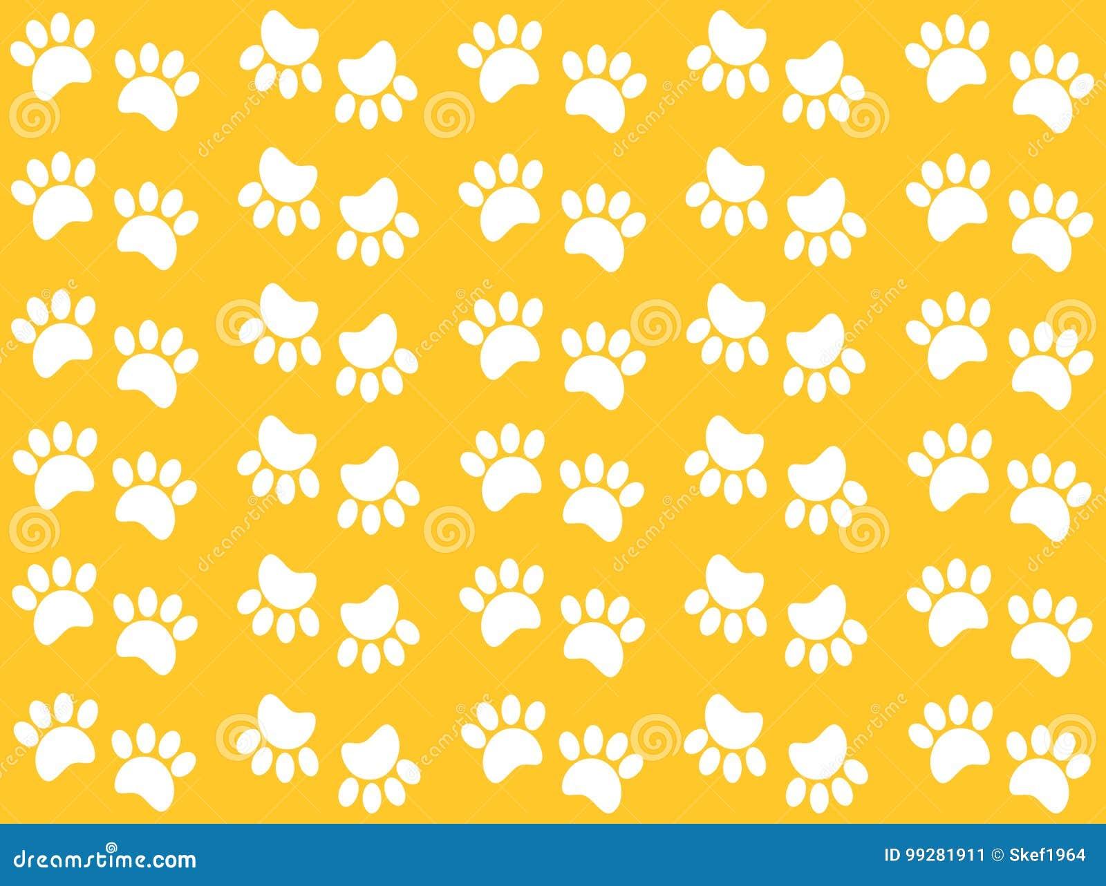 Fondo Perro Huellas: Huellas Animales En Un Fondo Amarillo Stock De