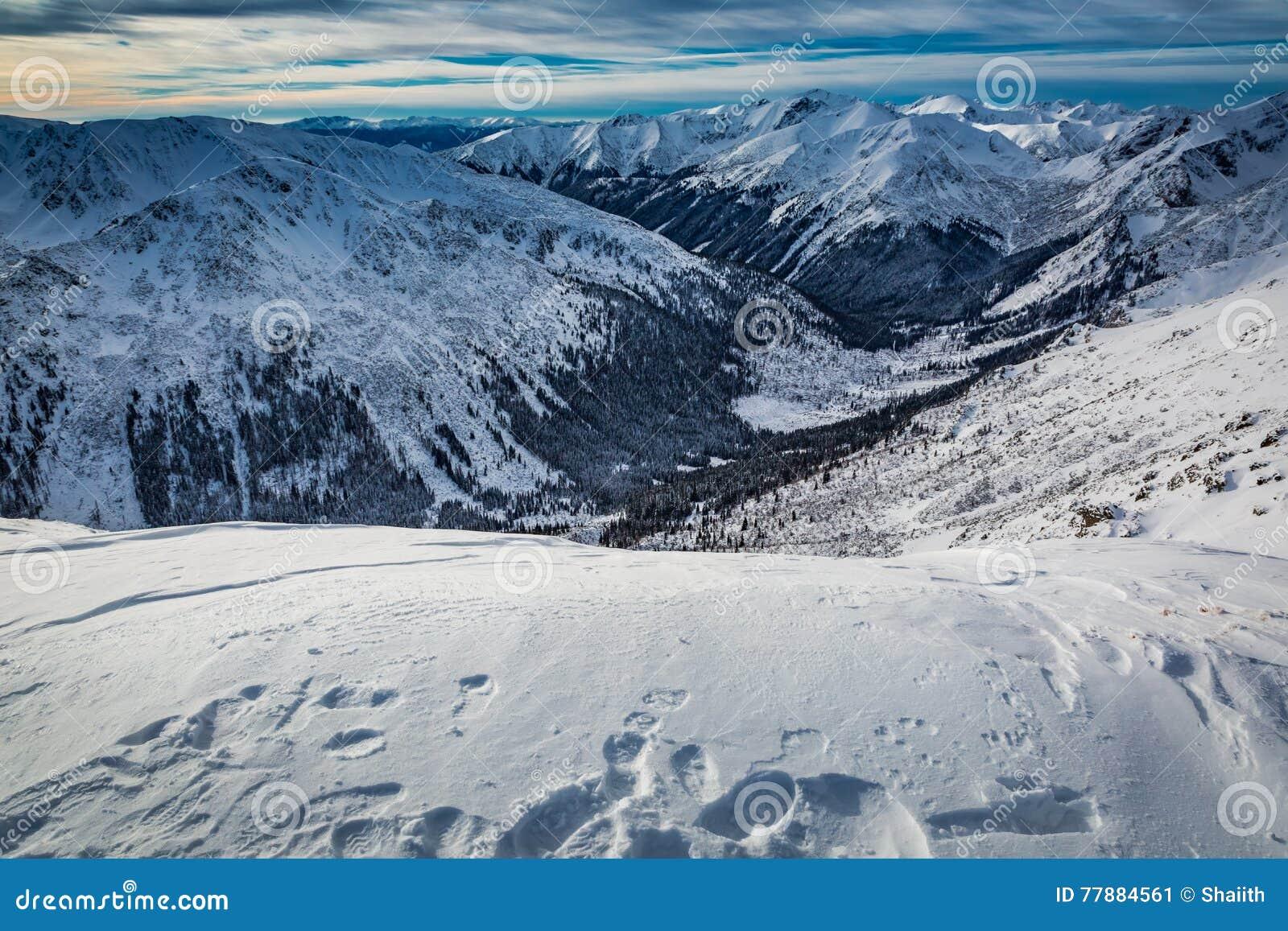 Huellas En La Nieve En La Cima De Las Montañas De Tatra Foto de archivo