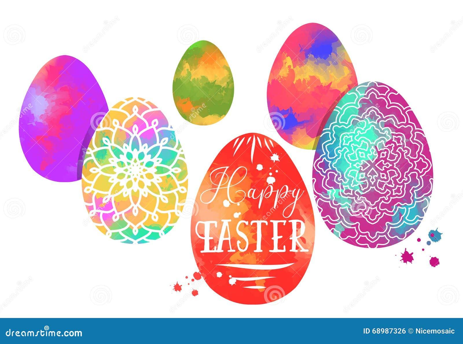 Huevo de Pascua colorido con el modelo de la mandala en acuarela