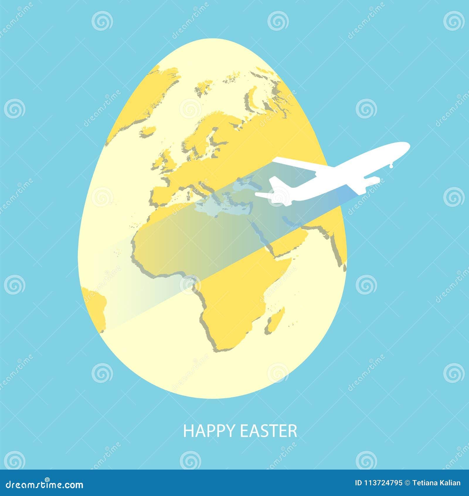 dd04d6e8d9 Huevo de Pascua con el mapa del mundo amarillo Tierra del planeta en la  forma de huevo en fondo púrpura brillante con volar el avión de aire gris  claro y el ...