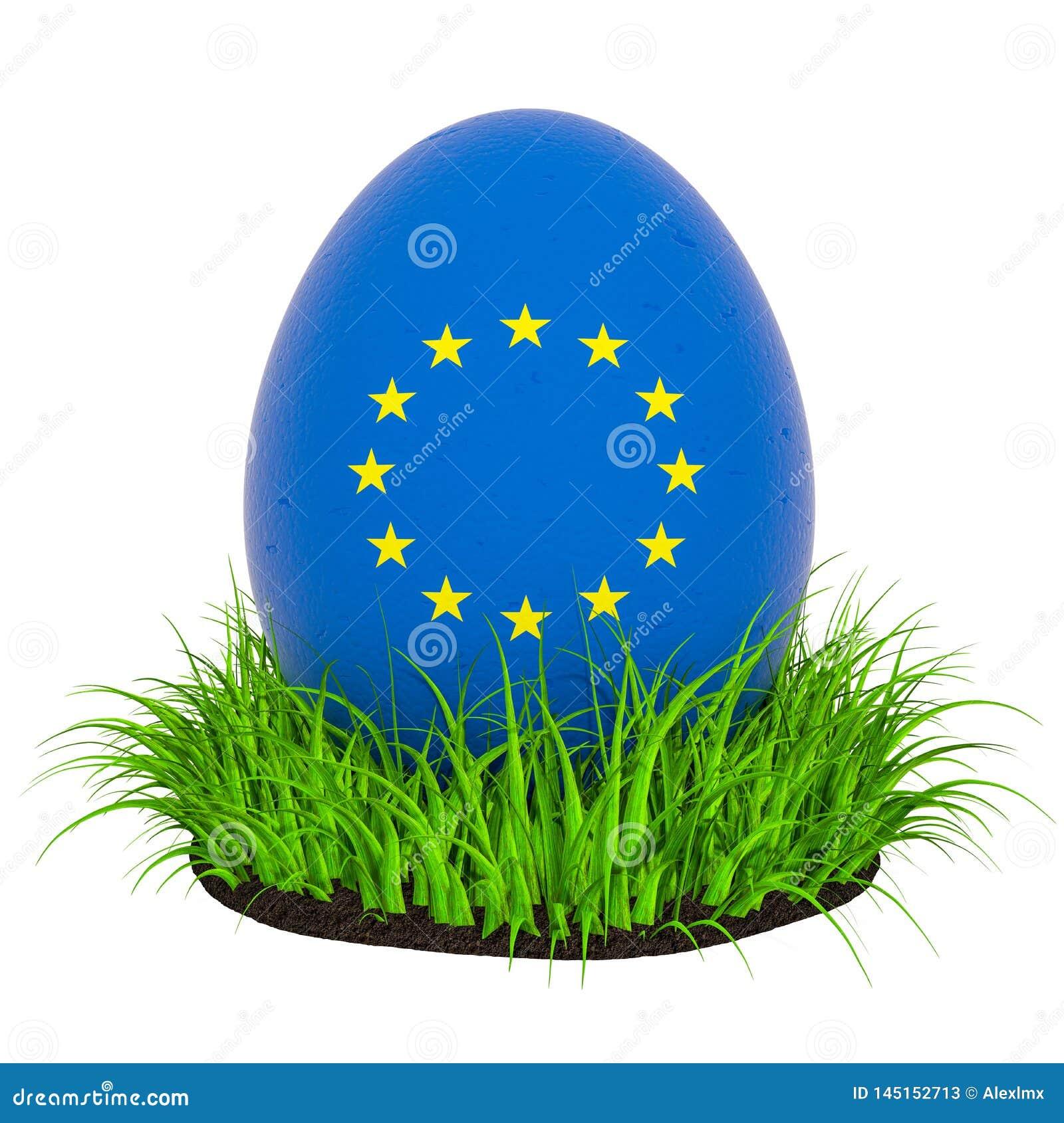 Huevo de Pascua con la bandera de la unión europea en la hierba verde, representación 3D