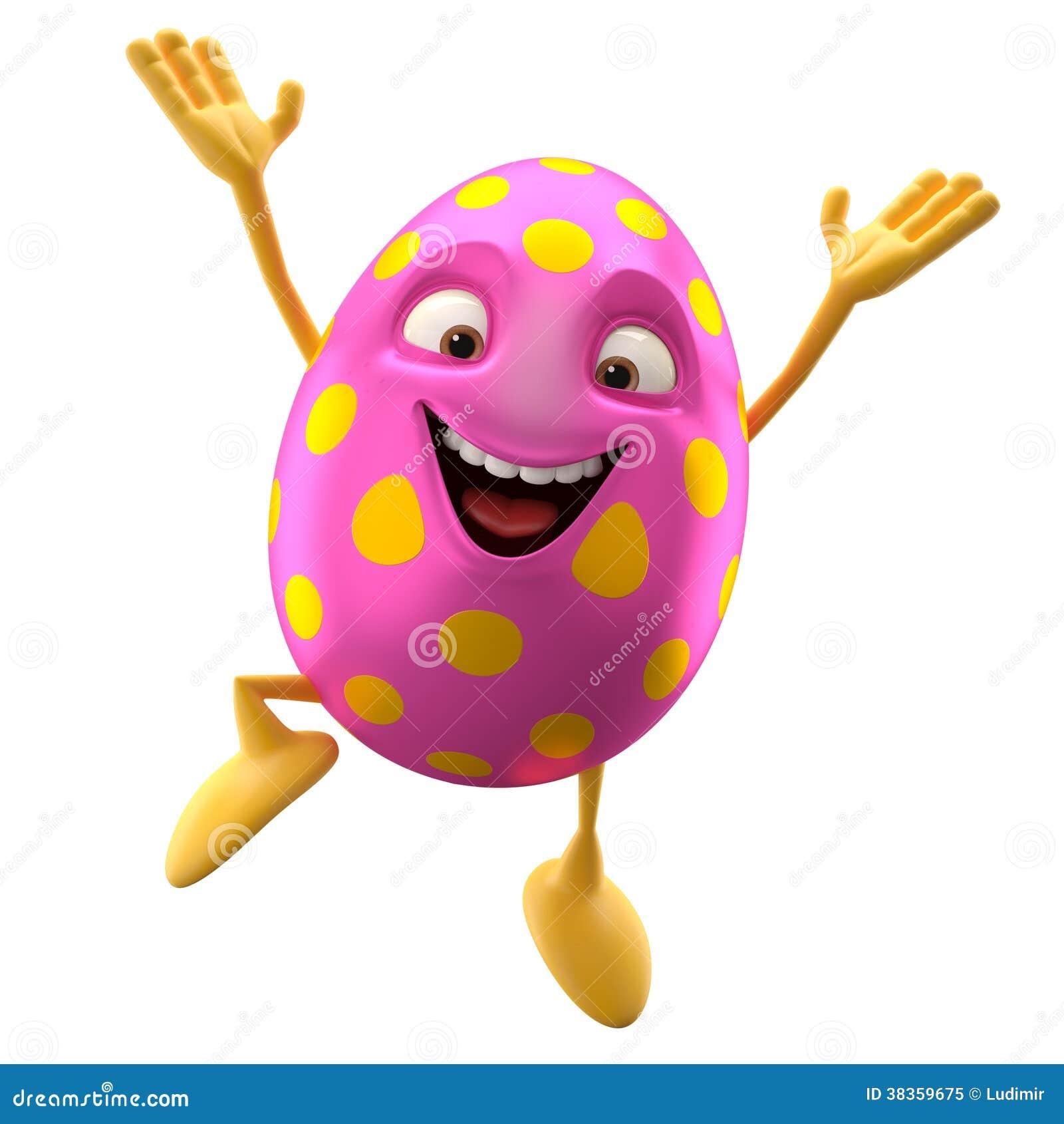 Huevo de Pascua sonriente, 3D personaje de dibujos animados divertido, salto que disfruta