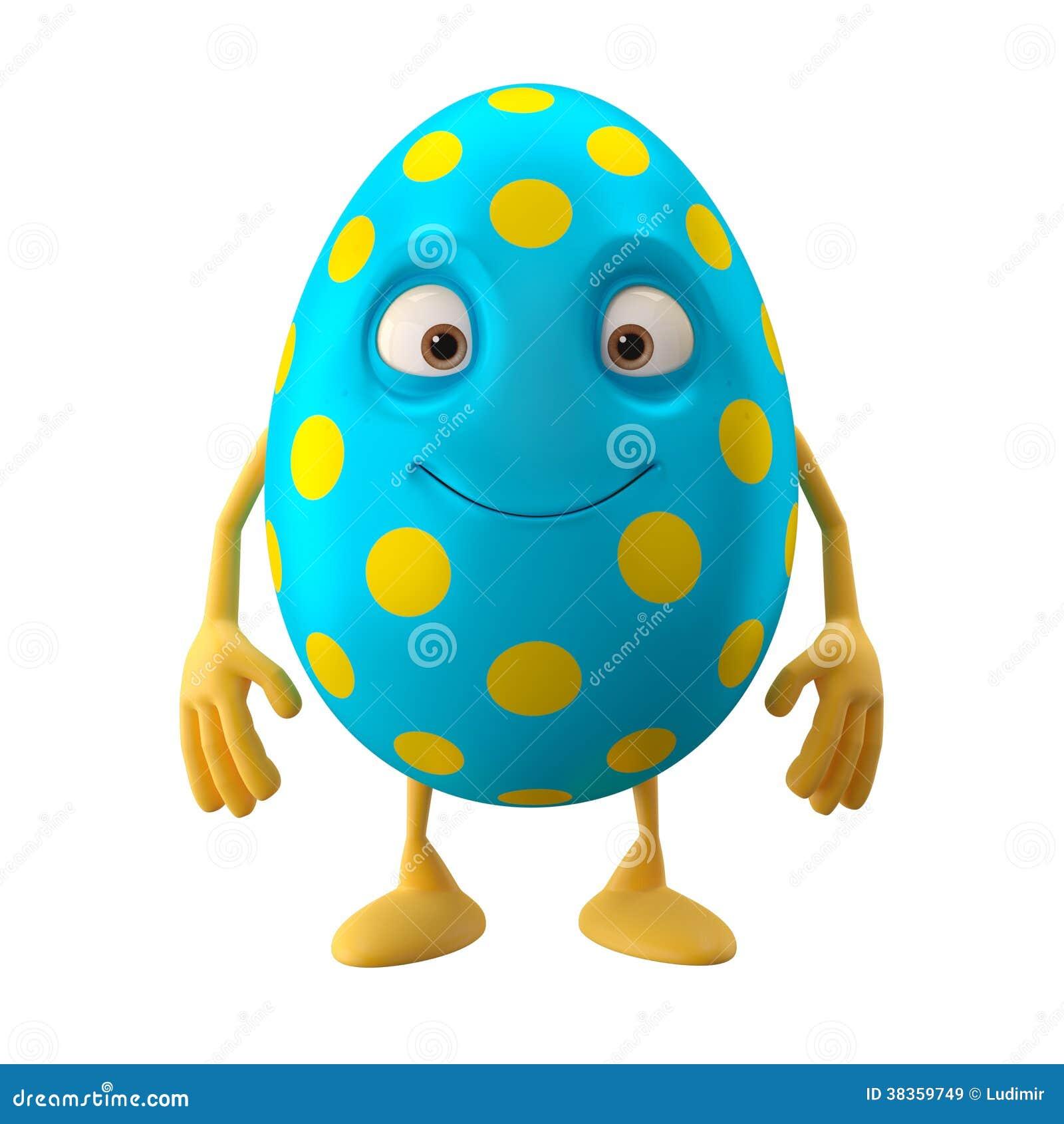 Huevo de Pascua sonriente, personaje de dibujos animados divertido 3D