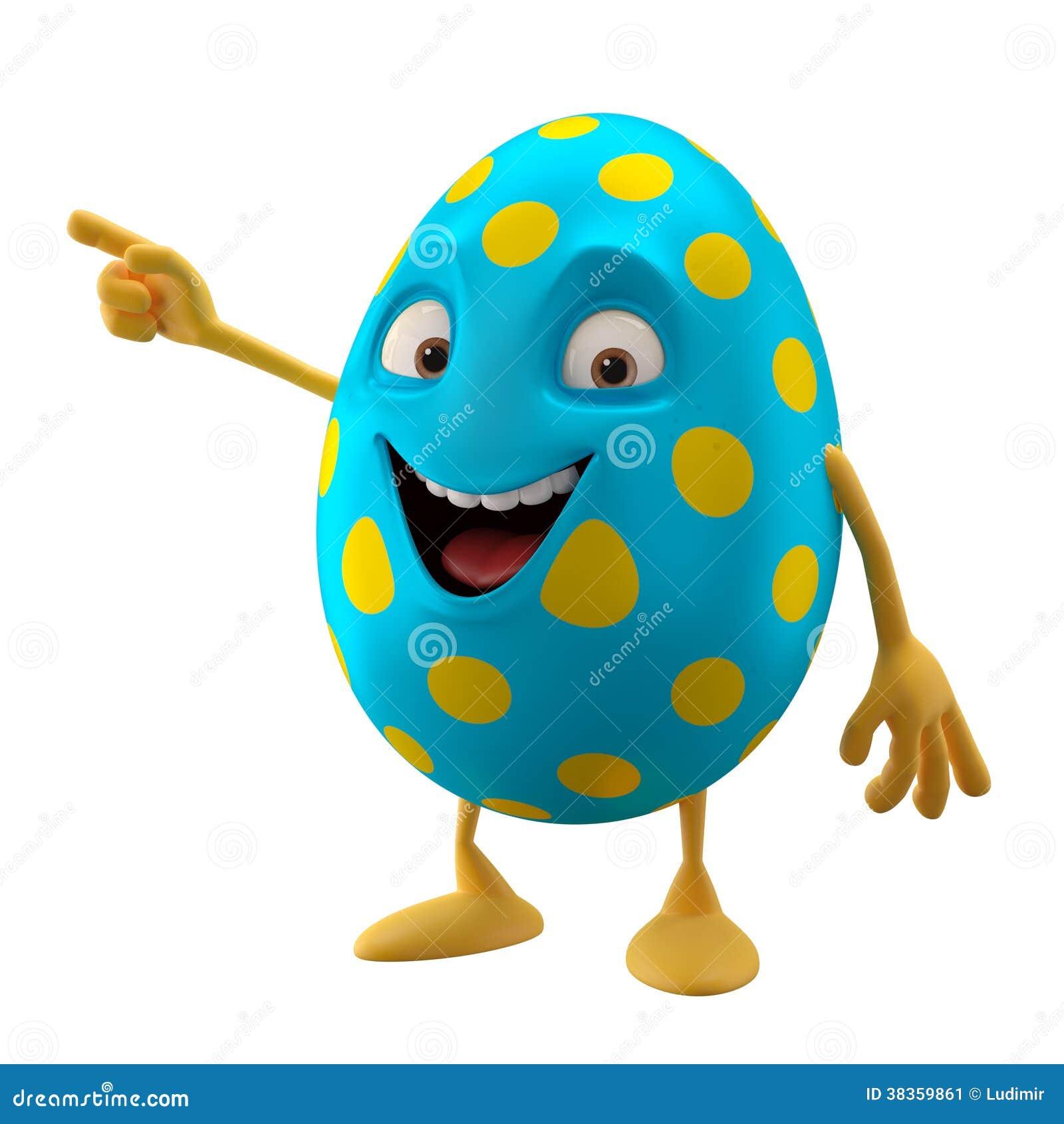 Huevo de Pascua sonriente, personaje de dibujos animados divertido 3D, mostrando las manos