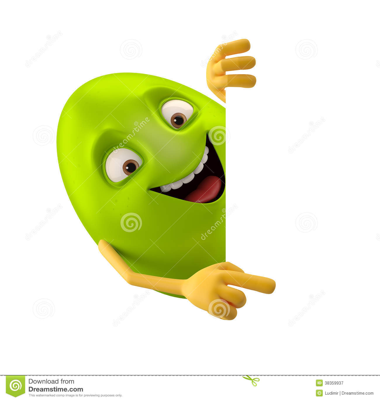 Huevo de Pascua sonriente, personaje de dibujos animados divertido del verde 3D, mostrando las manos