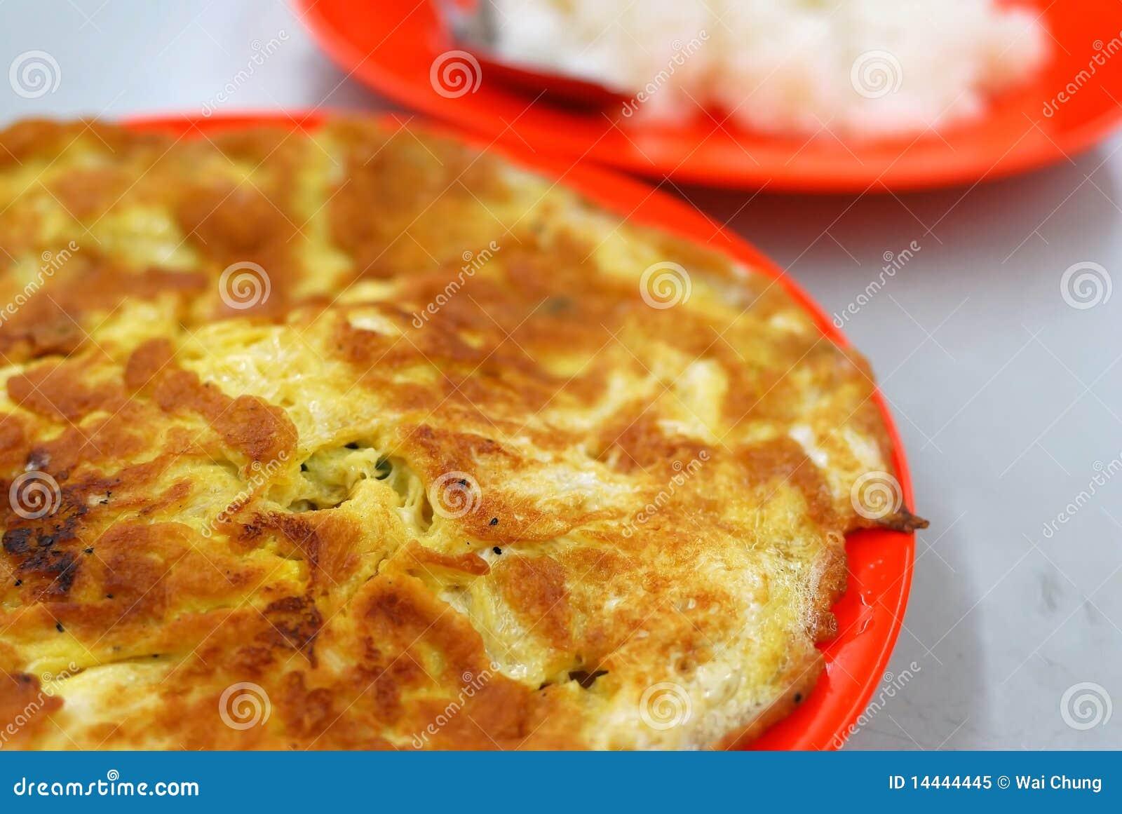 Huevo revuelto frito o del asiático