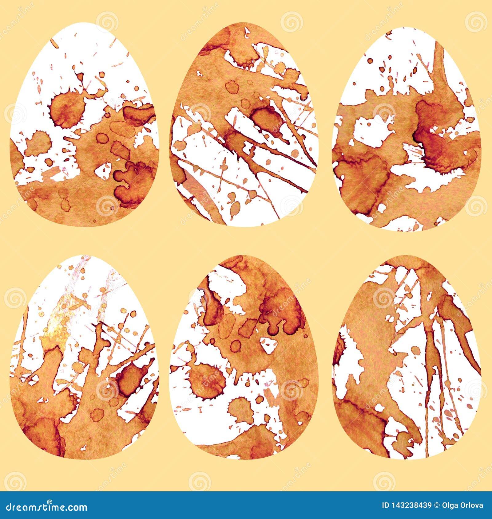 Huevos con las manchas del café Diversos dibujos fragantes