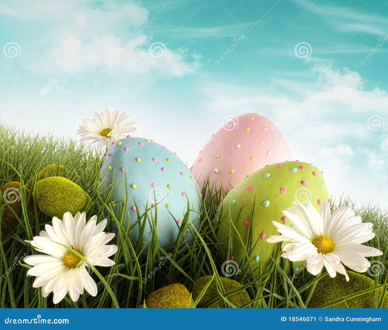 Huevos de Pascua adornados en la hierba con las margaritas