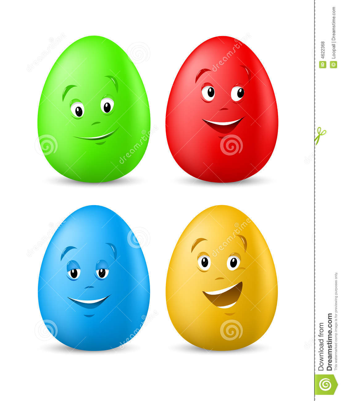Huevos de Pascua coloreados divertidos con las caras felices