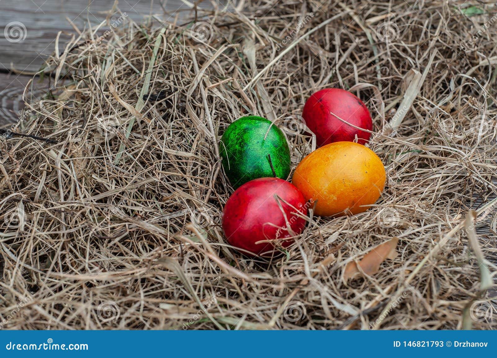4 huevos de Pascua coloreados ponen en el heno seco en el tablero envejecido de madera