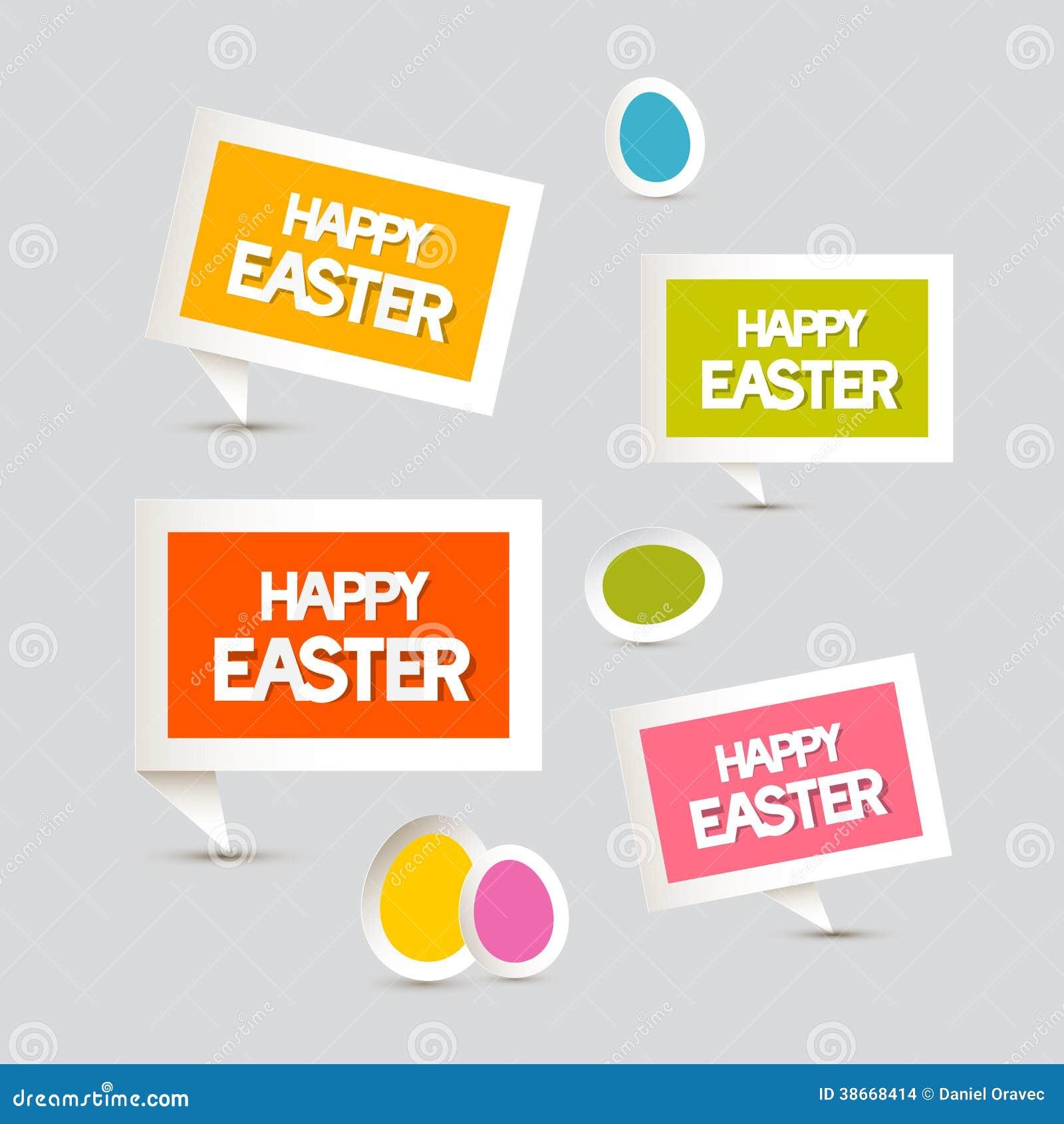 Huevos de Pascua de papel del vector, etiquetas, etiquetas fijadas