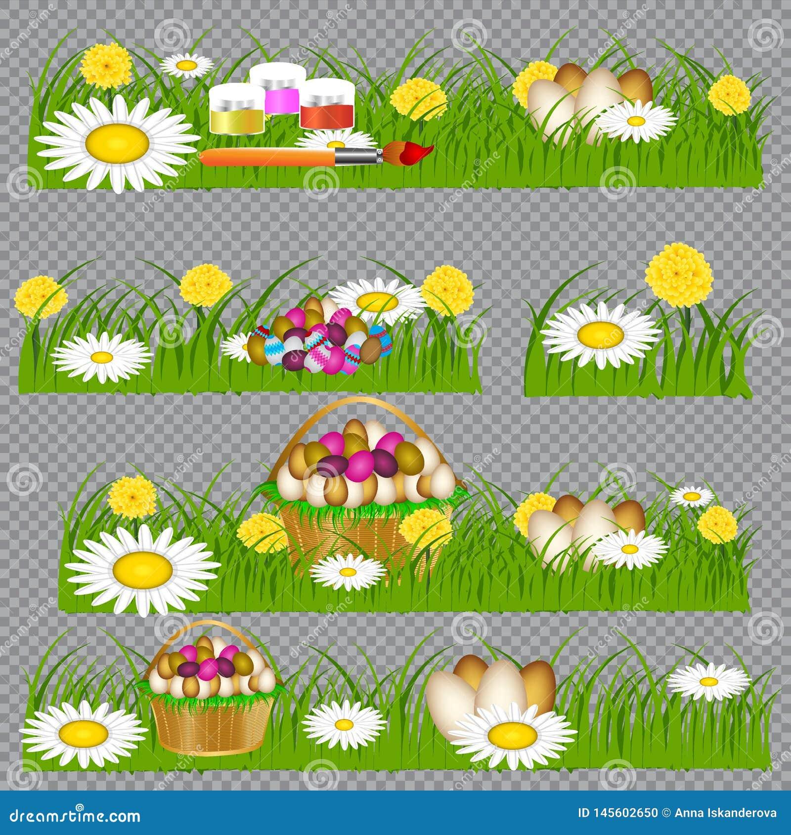 Huevos de Pascua en la hierba verde