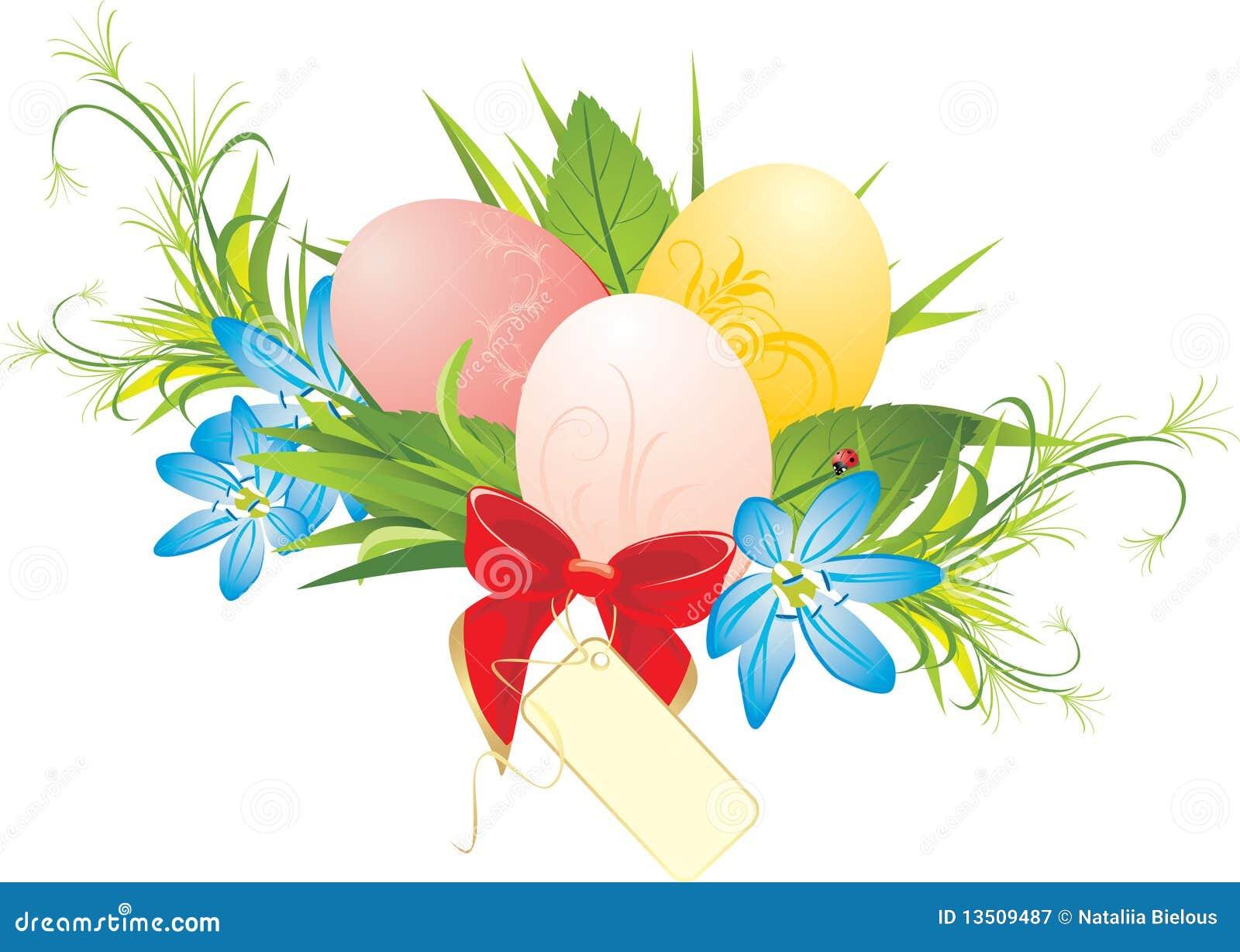 Huevos de Pascua, flores del resorte y arqueamiento rojo con la tarjeta