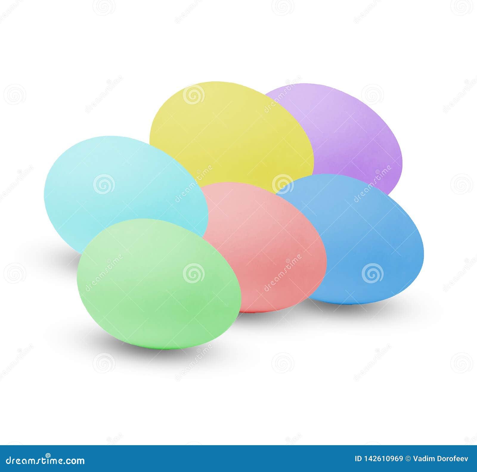 Huevos de Pascua multicolores D?a de fiesta en la casa Fondo aislado blanco