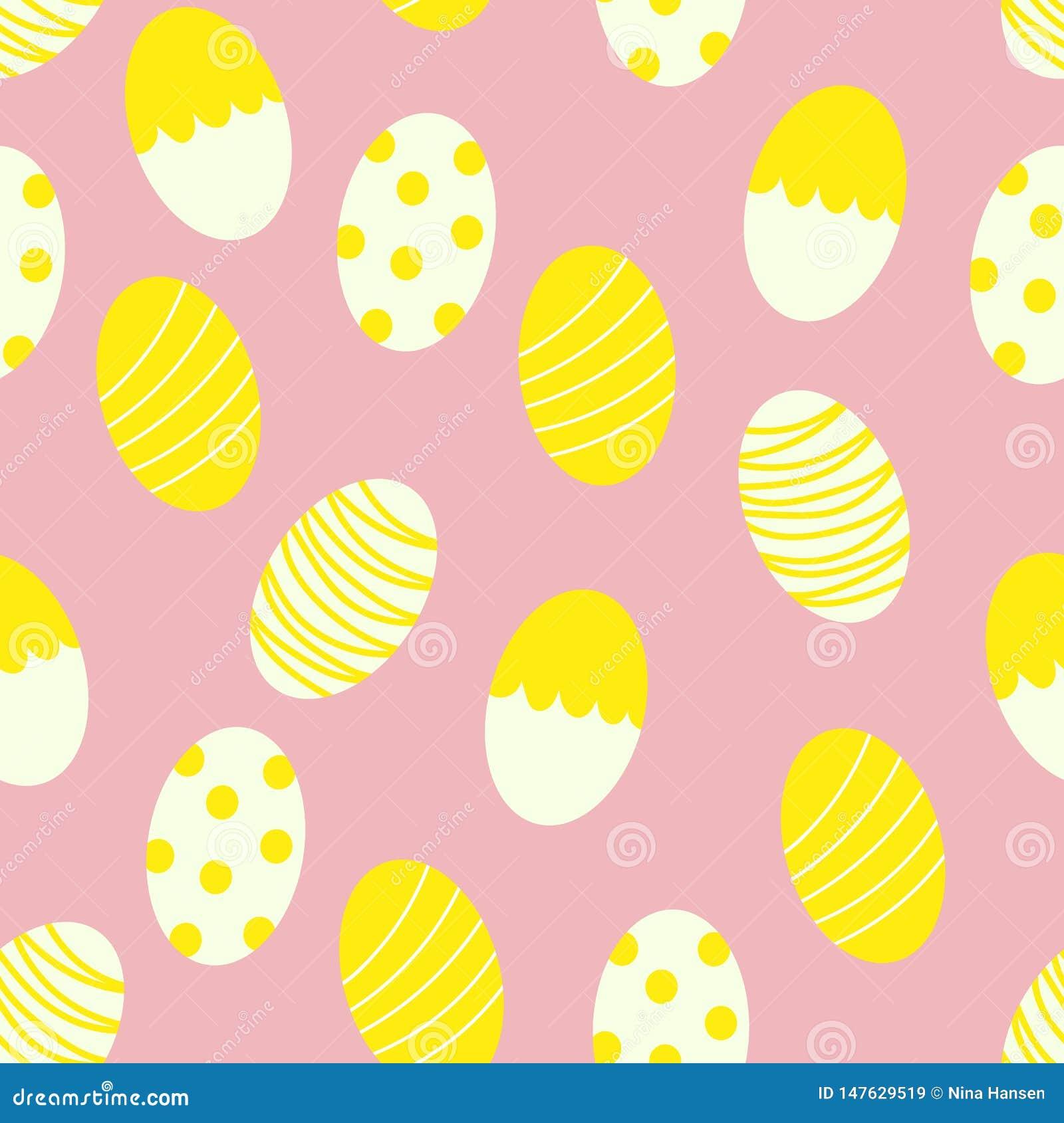 Huevos de Pascua pintados con las rayas y Dots Seamless Pattern Print Background
