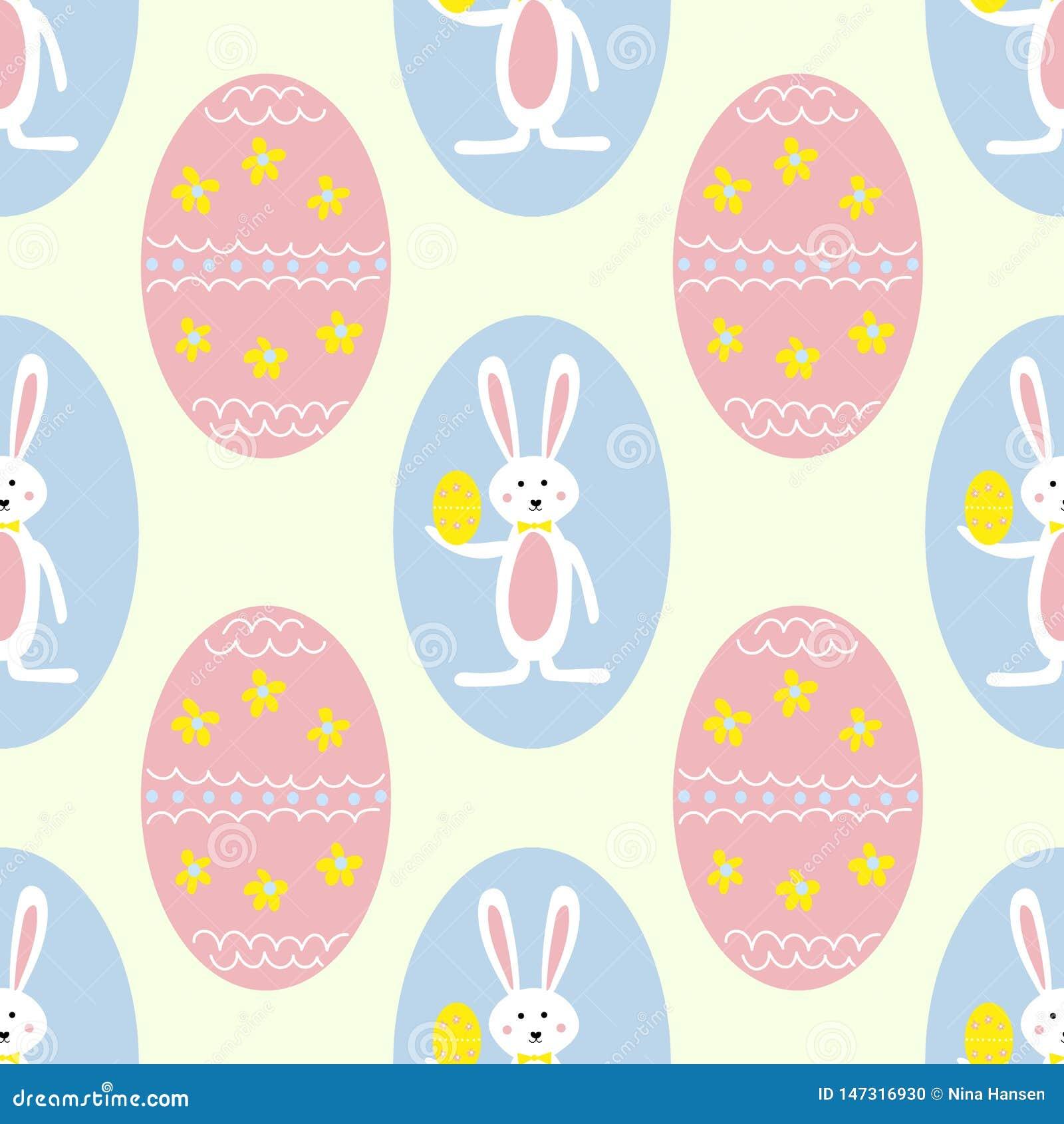 Huevos y Bunny Seamless Pattern Print Background coloridos de Pascua