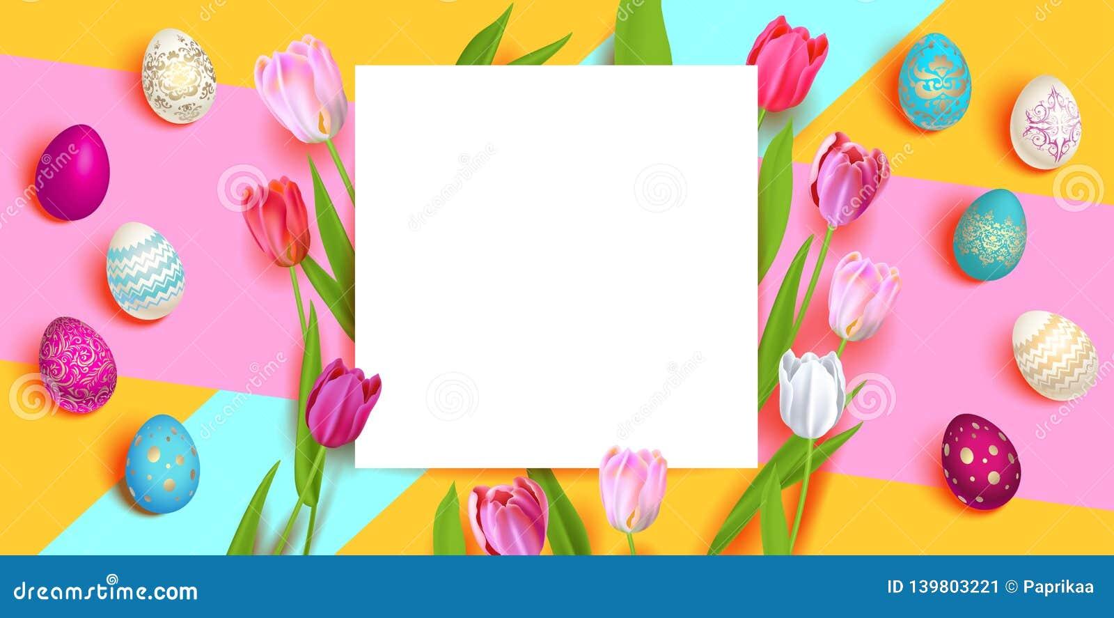 Huevos y tulipanes de Pascua