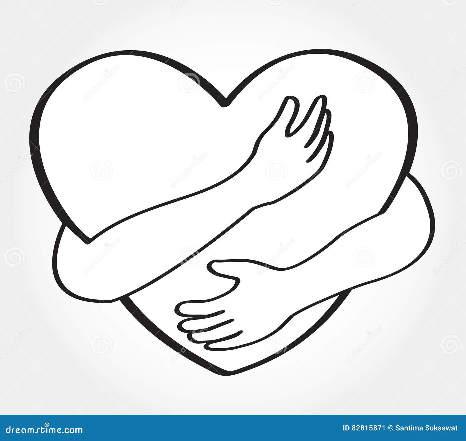 Hug the heart love yourself symbol stock vector illustration hug the heart love yourself symbol buycottarizona