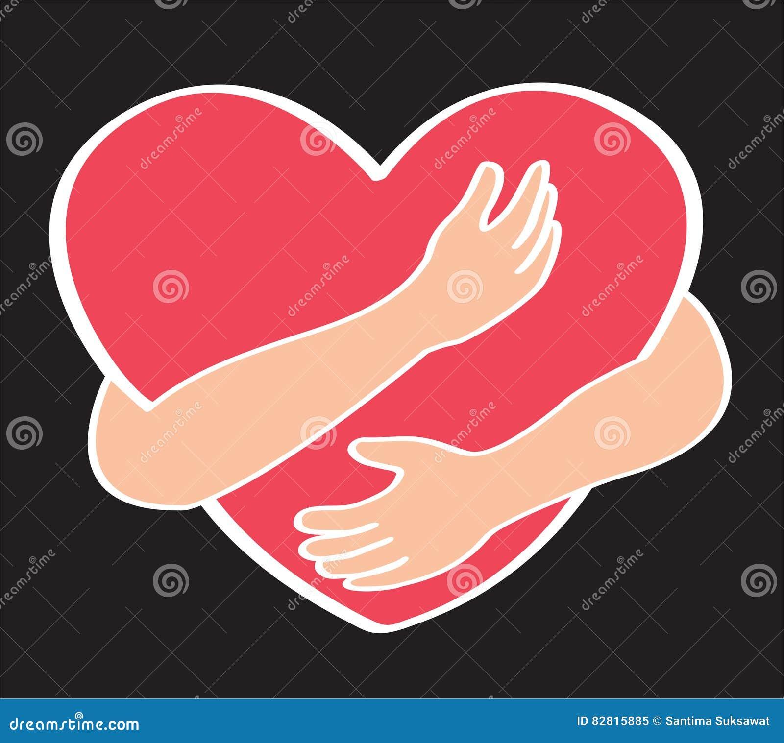 Hug the heart love yourself symbol stock vector illustration hug the heart love yourself symbol happy modern buycottarizona