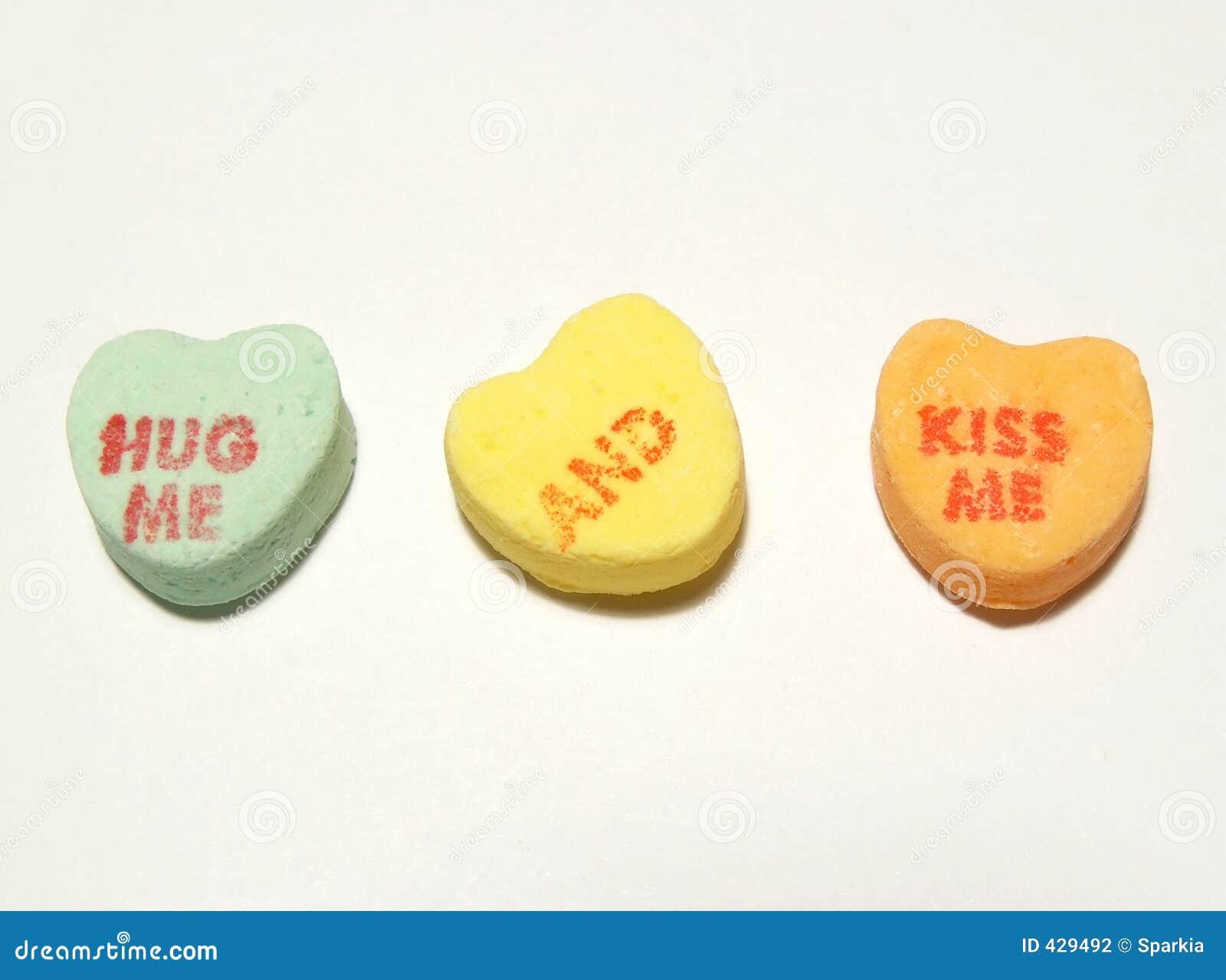 Hug me and kiss me hearts