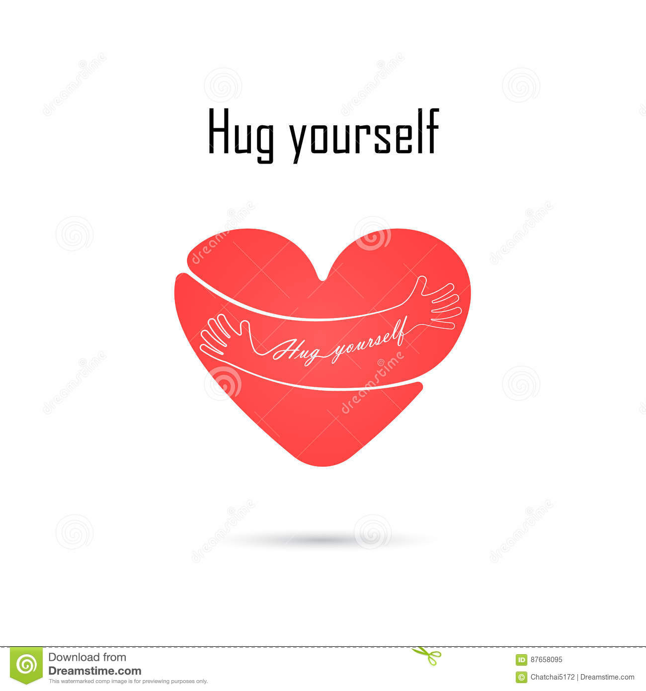 Hug Yourself Logolove Yourself Logolove And Heart Care Iconem