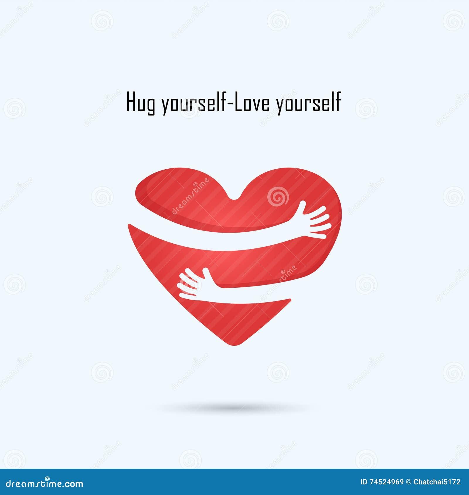 Hug Yourself Logo .Love Yourself Logo .Love And Heart Care