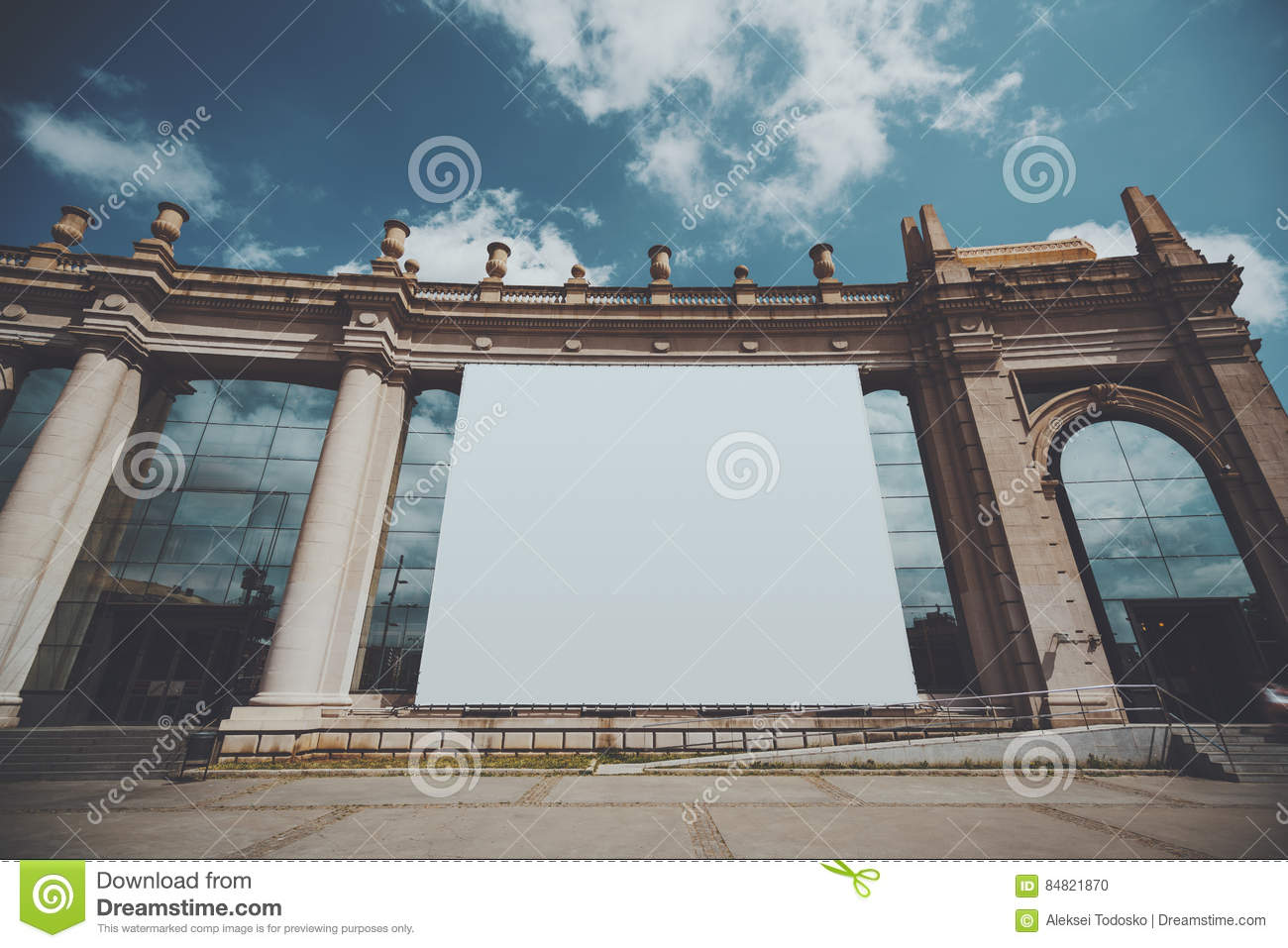 big view photography. Download Huge Banner Mock Up On Building Facade Stock Photo - Image Of Light, Massive Big View Photography