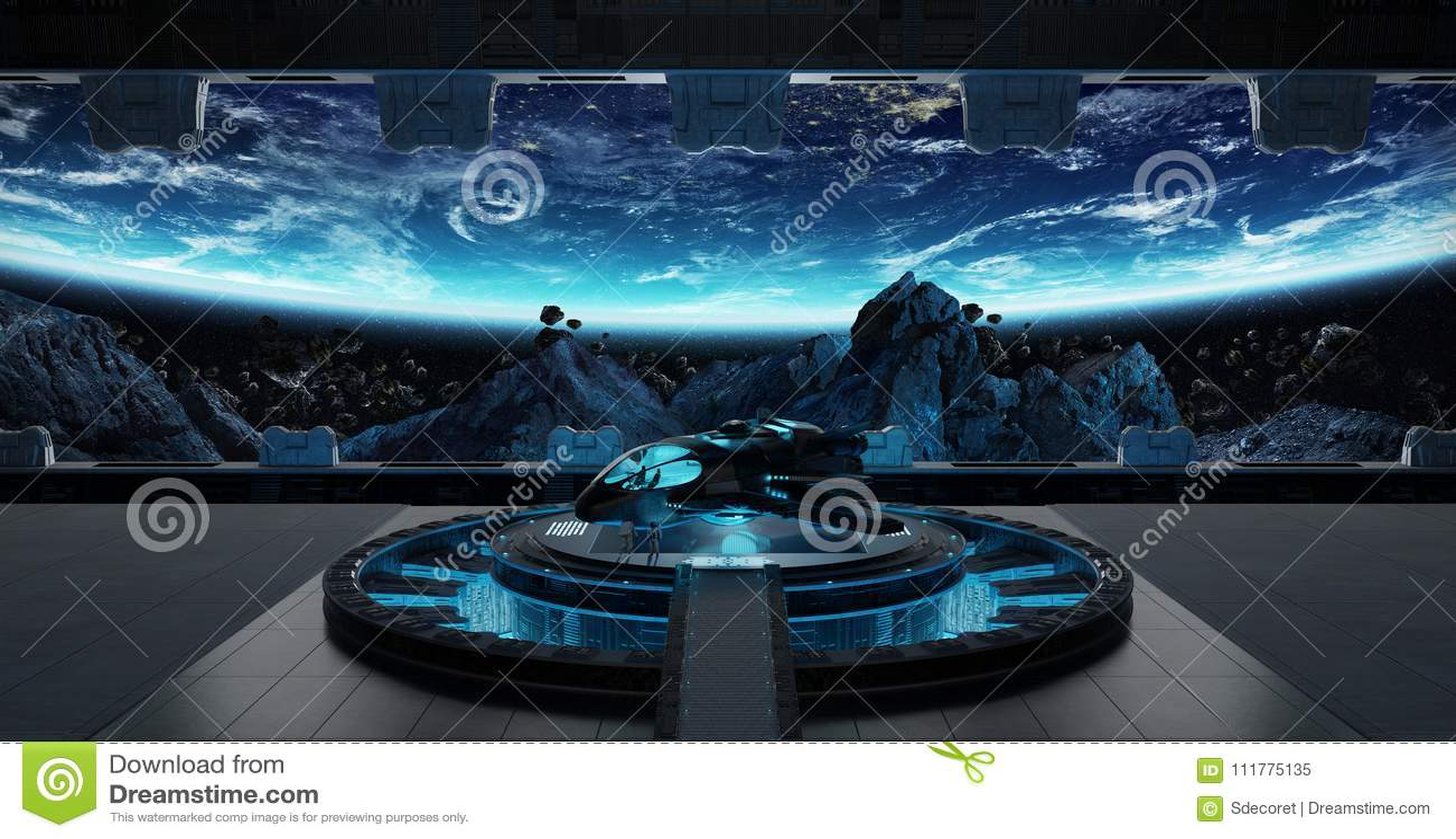 Landing strip spaceship interior 3D rendering elements of this i