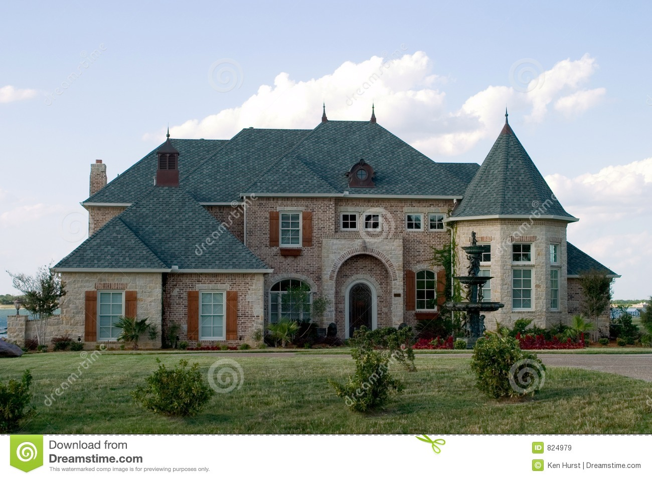 Huge brick house on lake royalty free stock images image for Massive house plans