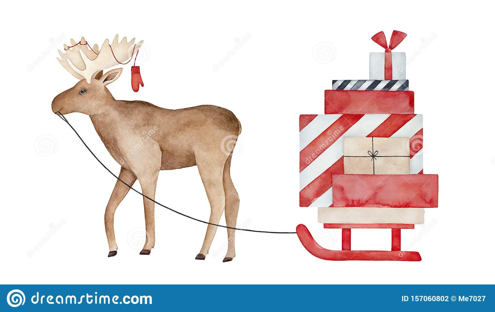 Huge brown moose with knitted mitten on antlers, carrying sled with many festive gift boxes.