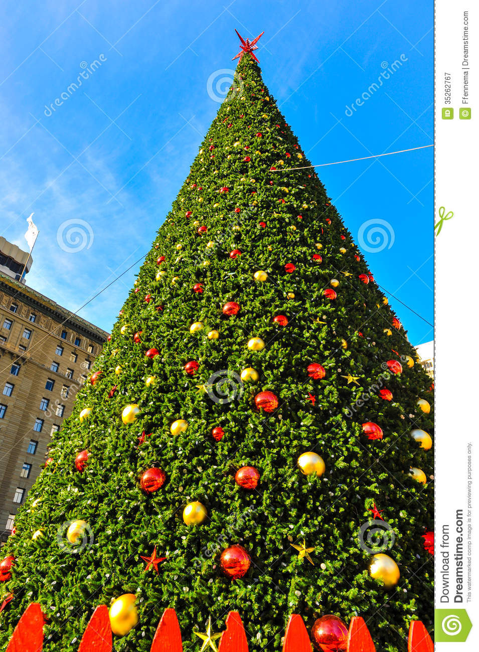 Huge Christmas Tree With Cables And Fence Royalty Free