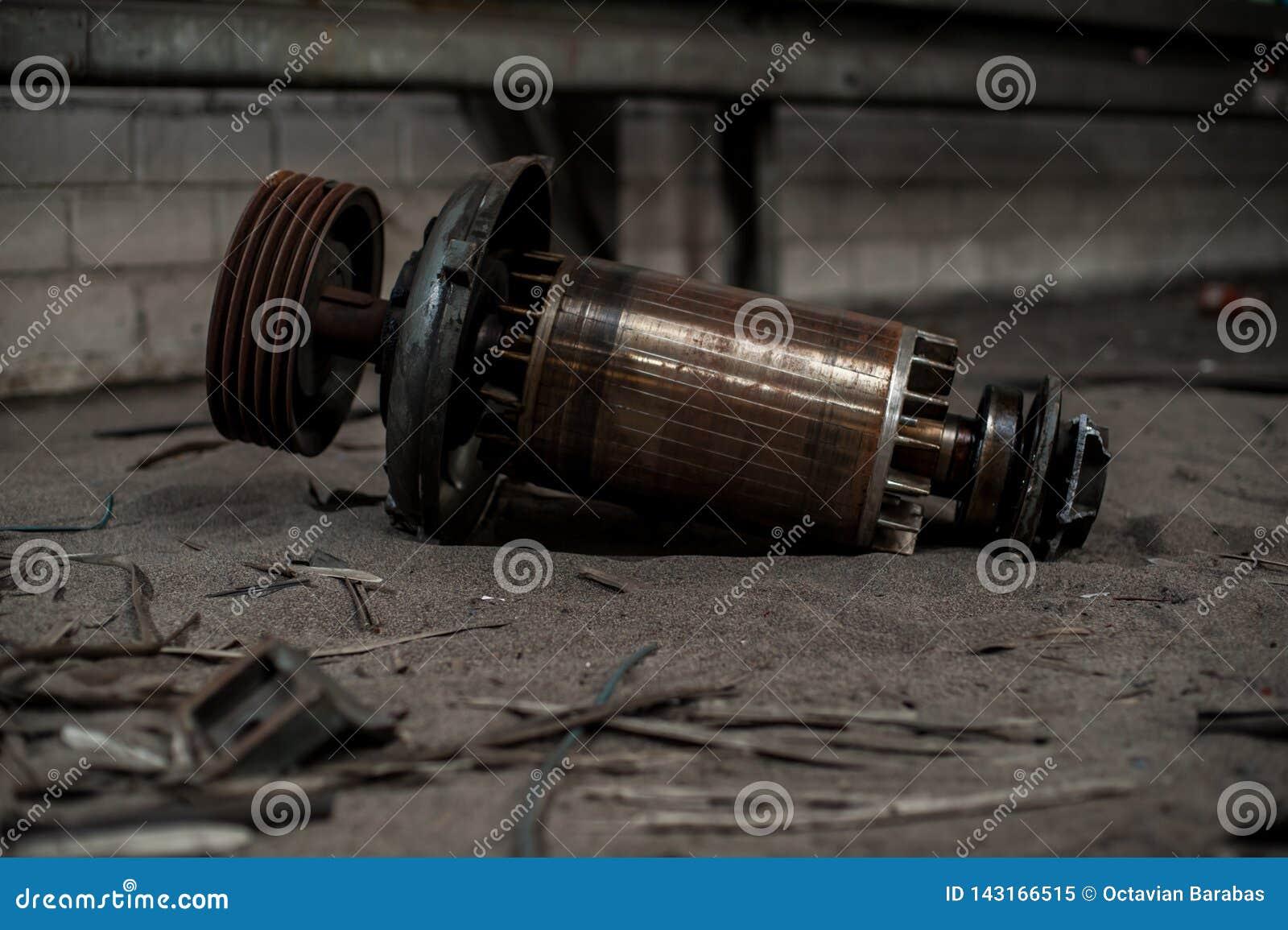 Huge core of electric motor in industrial ruins