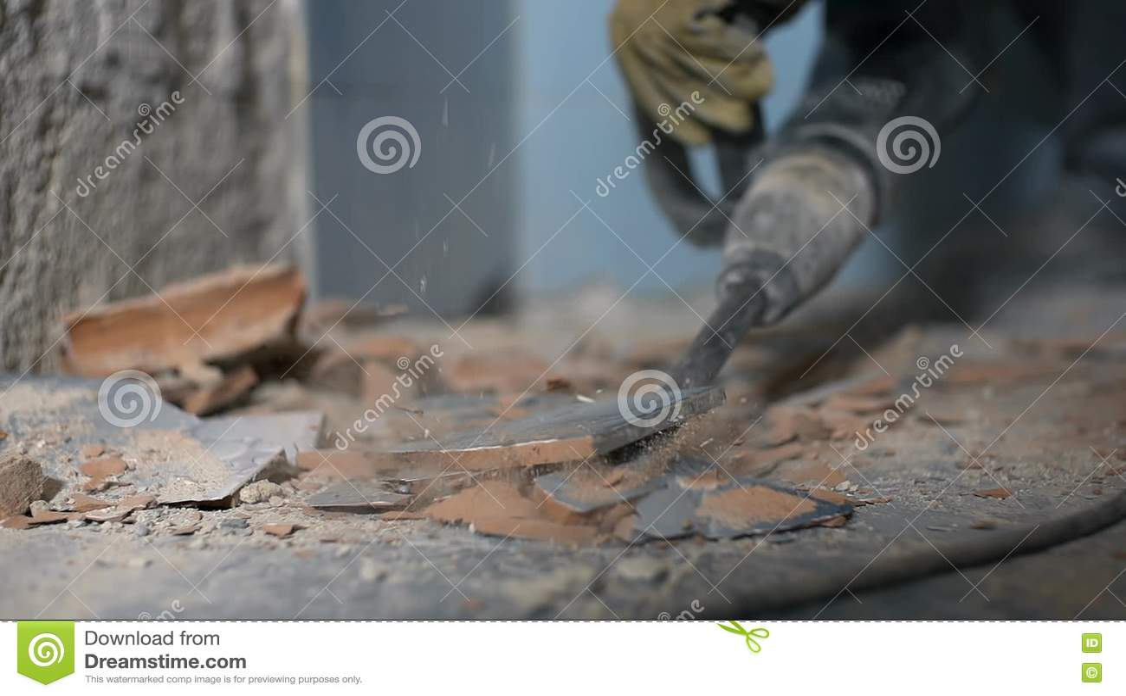 Huge Drill Destroying Ceramic Tiles Stock Footage Video Of Builder
