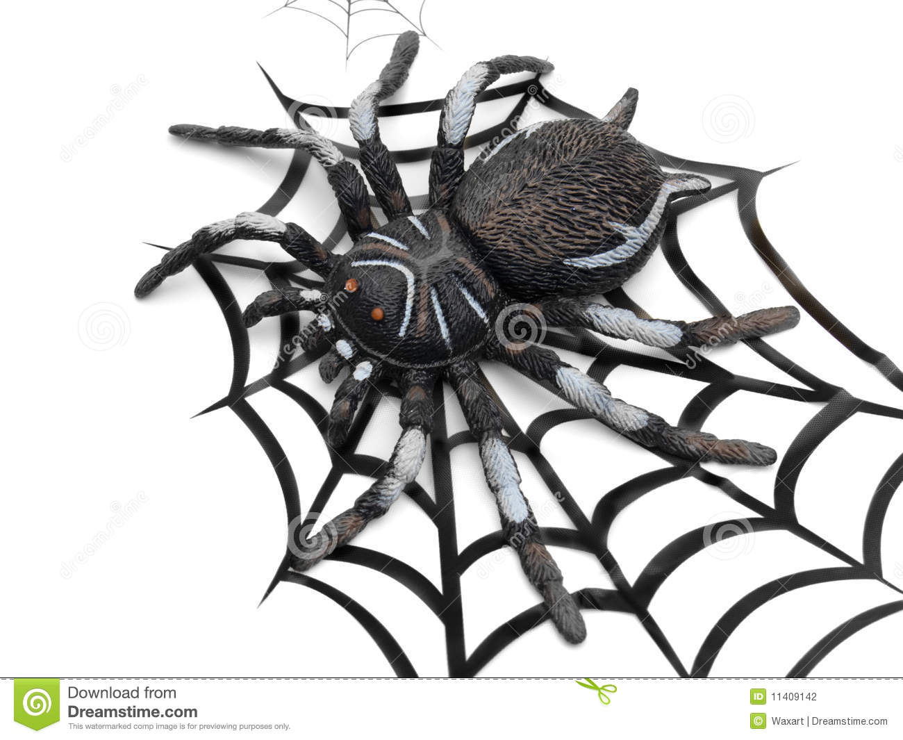 huge fake spider on drawing of a web stock photography
