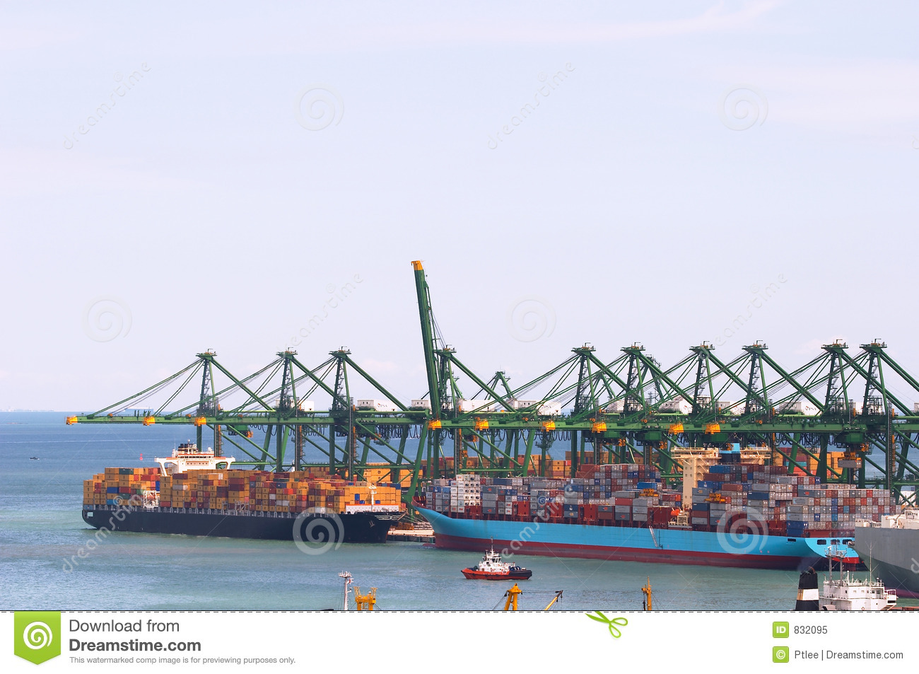 Huge gantry cranes and cargo container ships