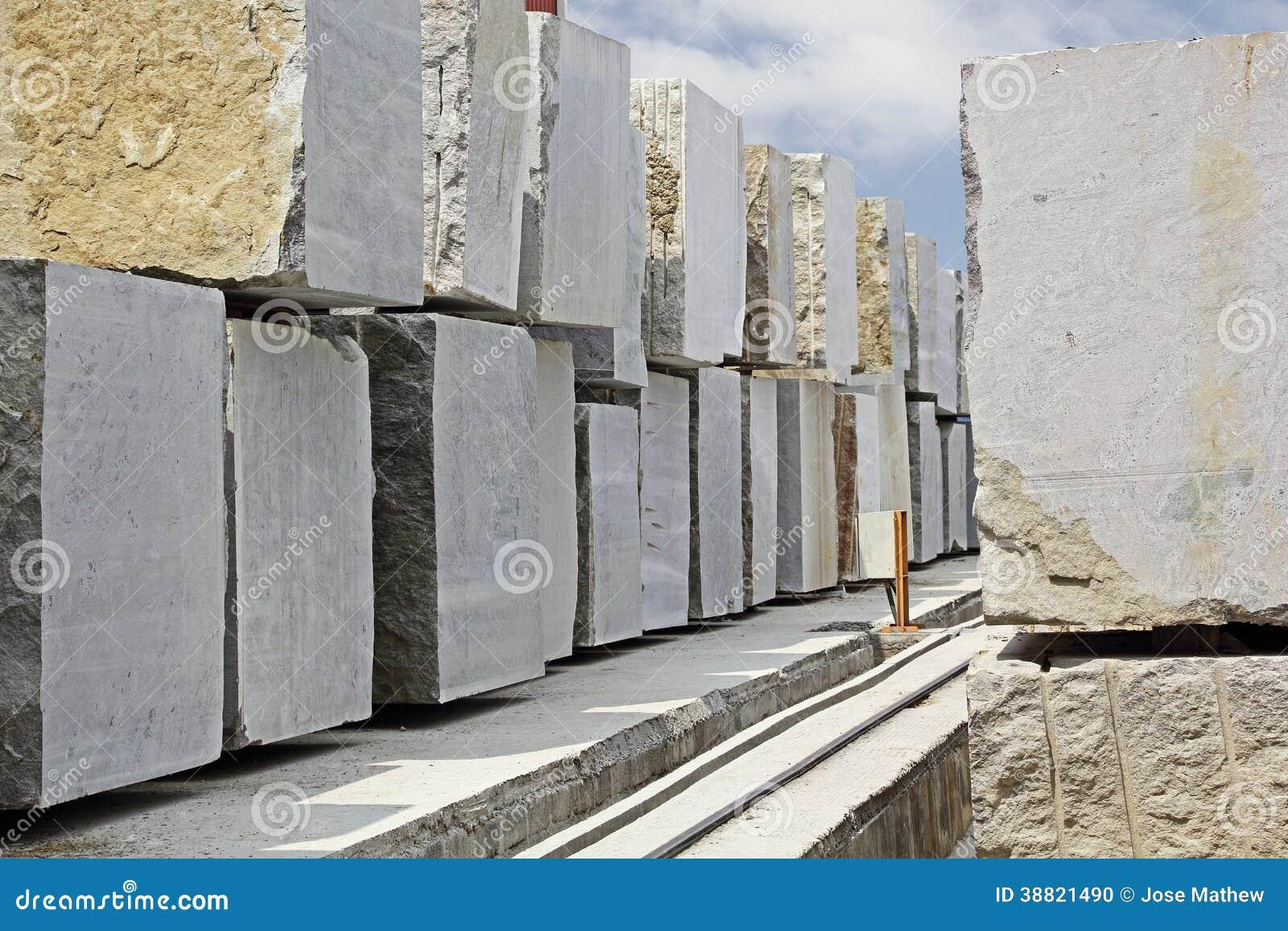 Granite Stone Blocks : Huge granite blocks extracted from quarry stock photo